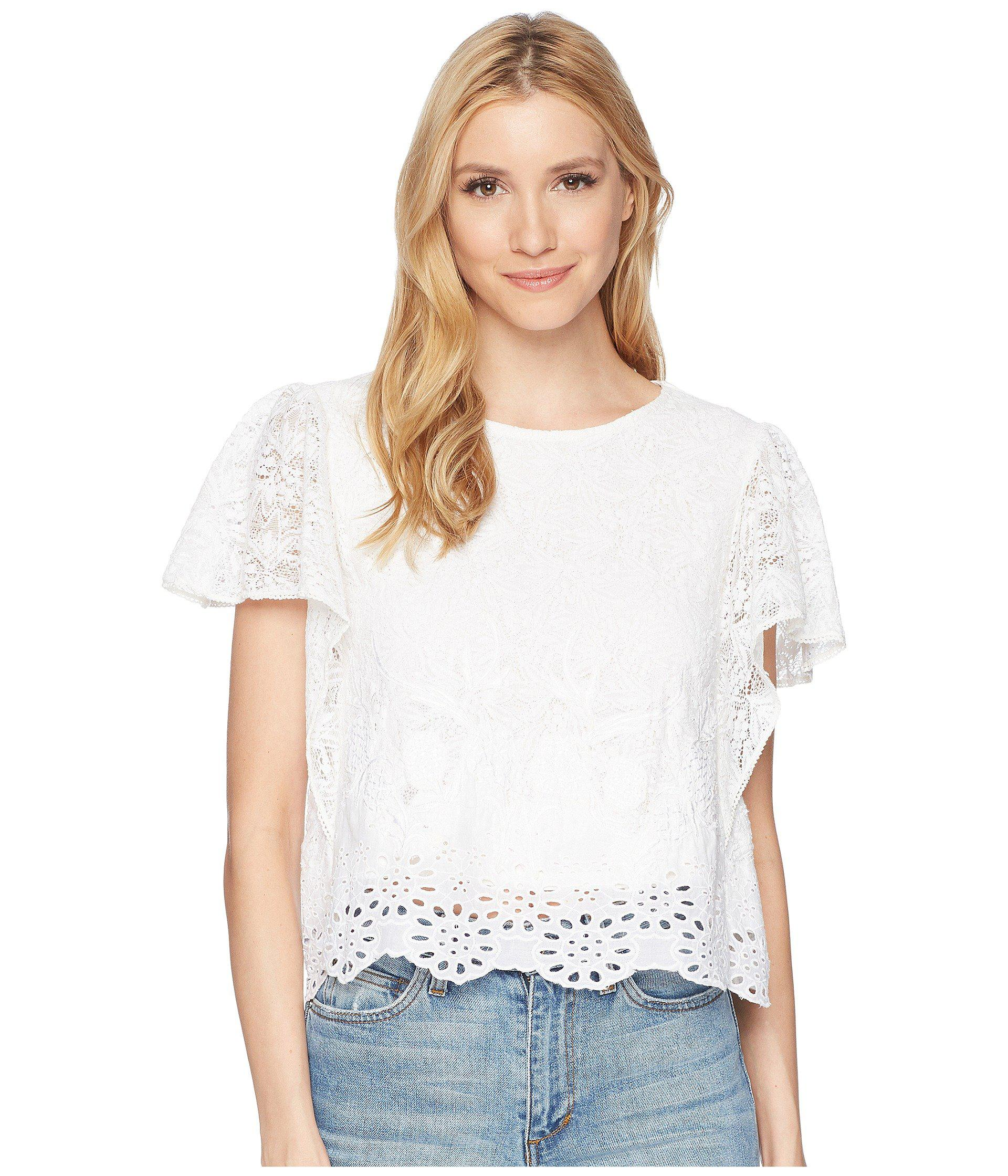 25c36d6075204 Lyst - Lucky Brand Eyelet Top in White - Save 17%