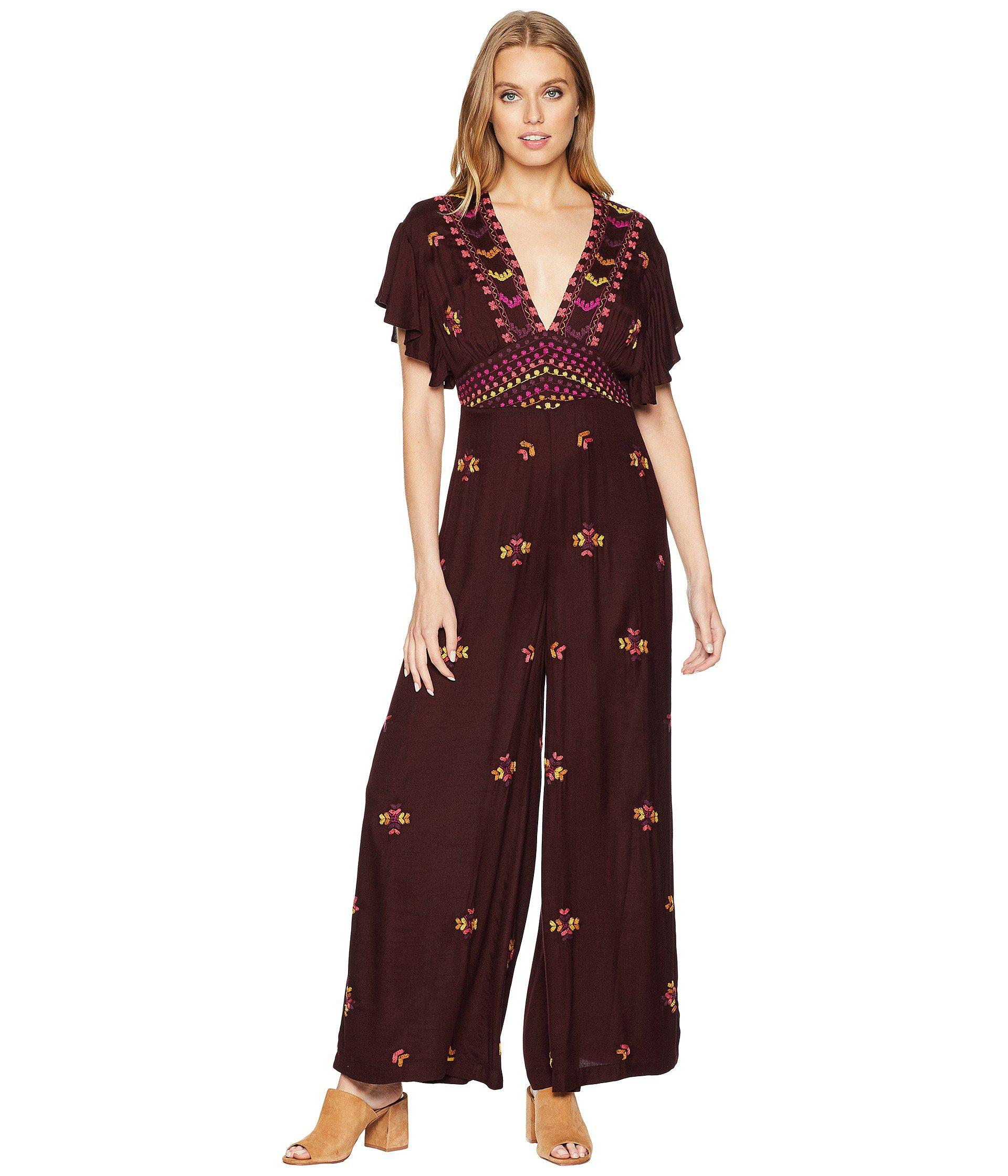 0aea6265bad Lyst - Free People Cleo Embroidered Jumpsuit in Purple