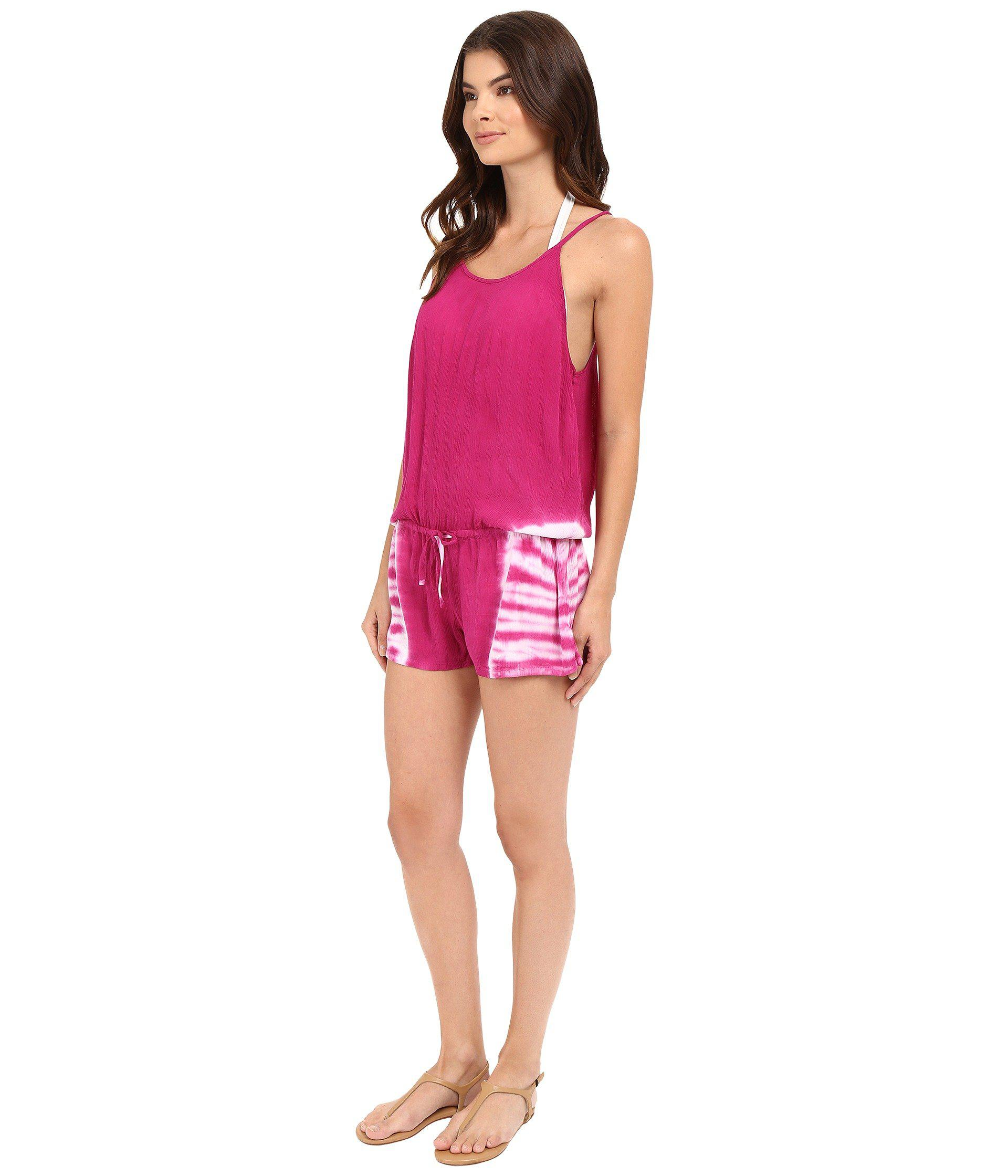 e2ddd99203fbf Lyst - Lucky Brand Hazy Day Romper Cover-up in Pink