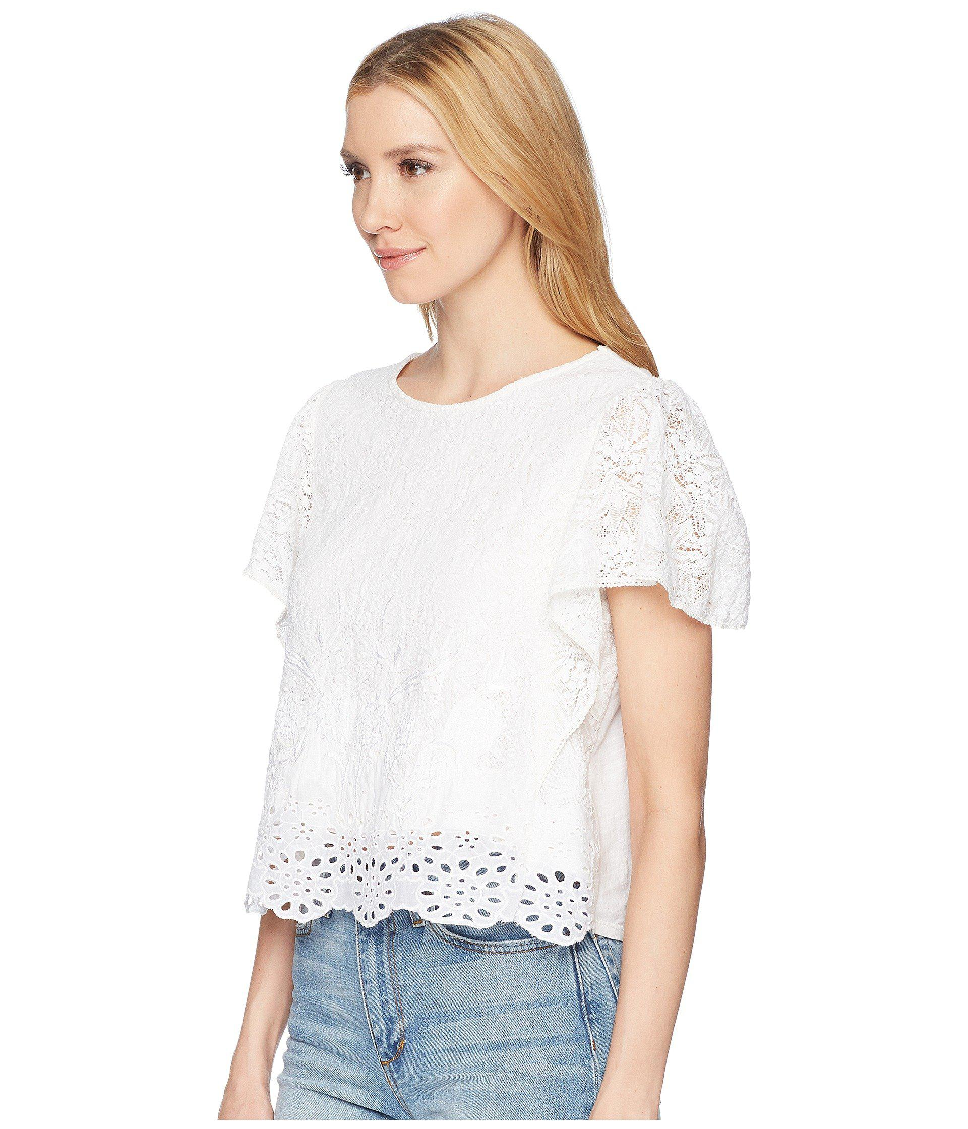 cca5d813c37ff0 Lyst - Lucky Brand Eyelet Top in White - Save 17%