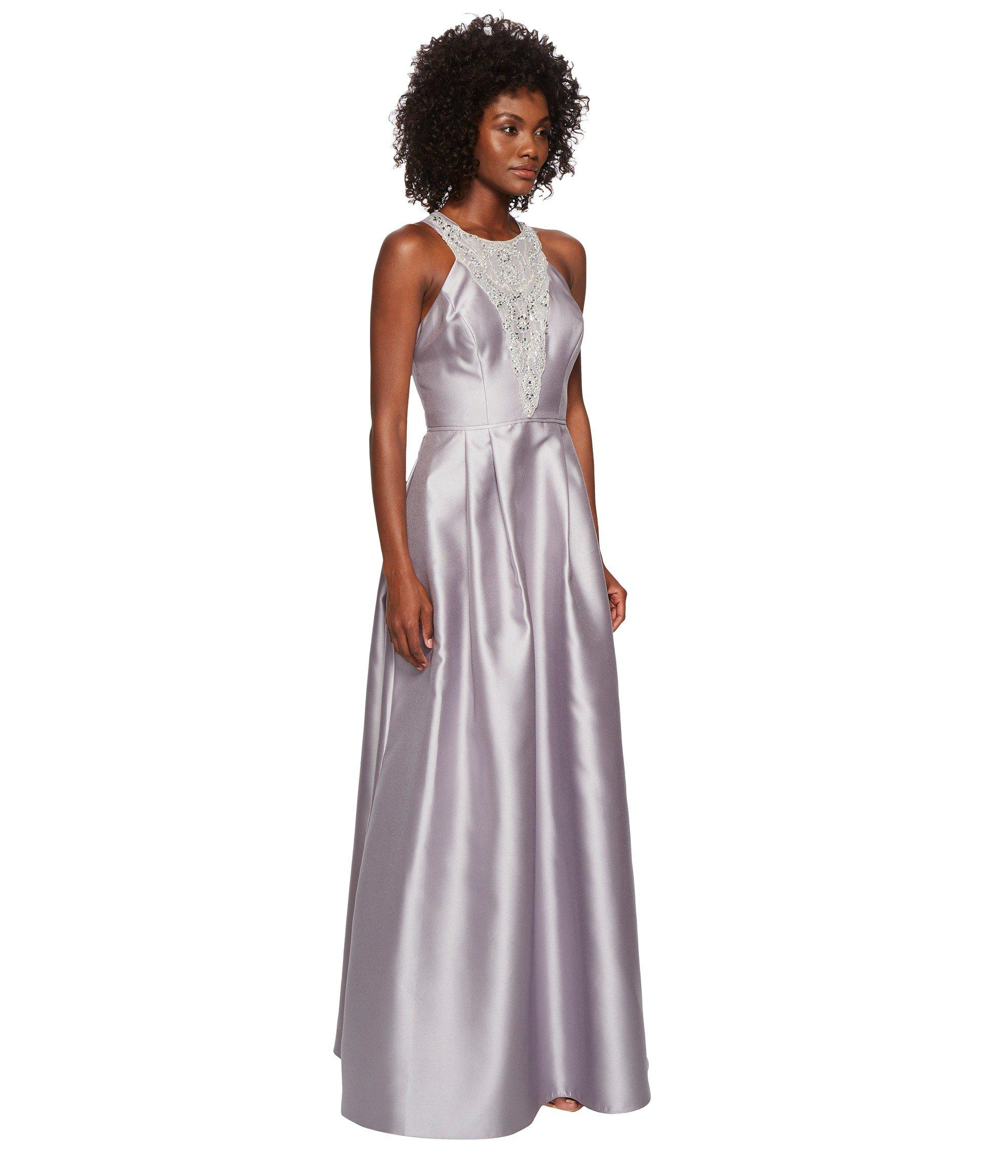 2532438ed30 Lyst - Adrianna Papell Long Halter Mikado Gown With Beaded Detail in ...