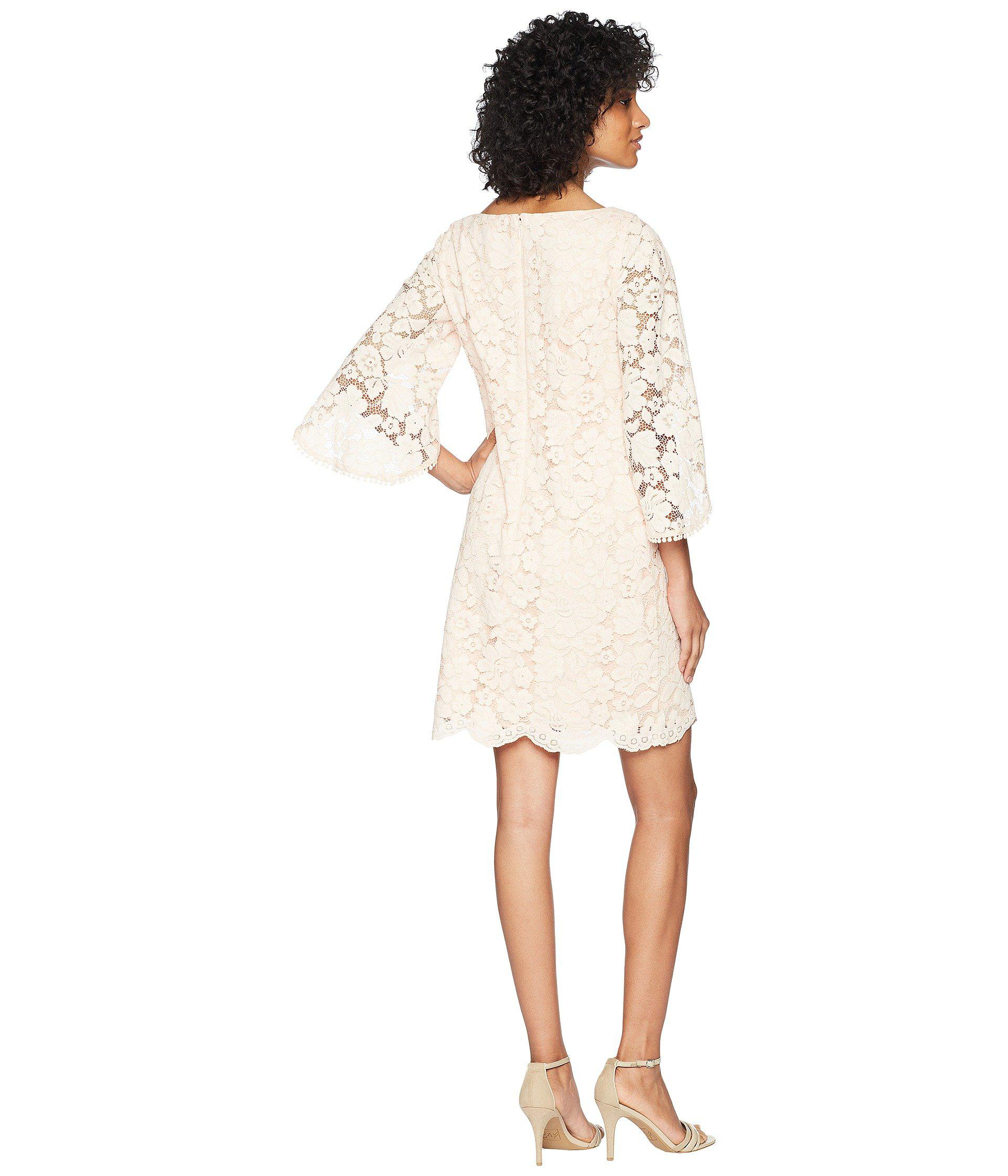 5e07a1eea1b3 Vince Camuto Lace Shift Dress With Overlap Sleeves - Lyst