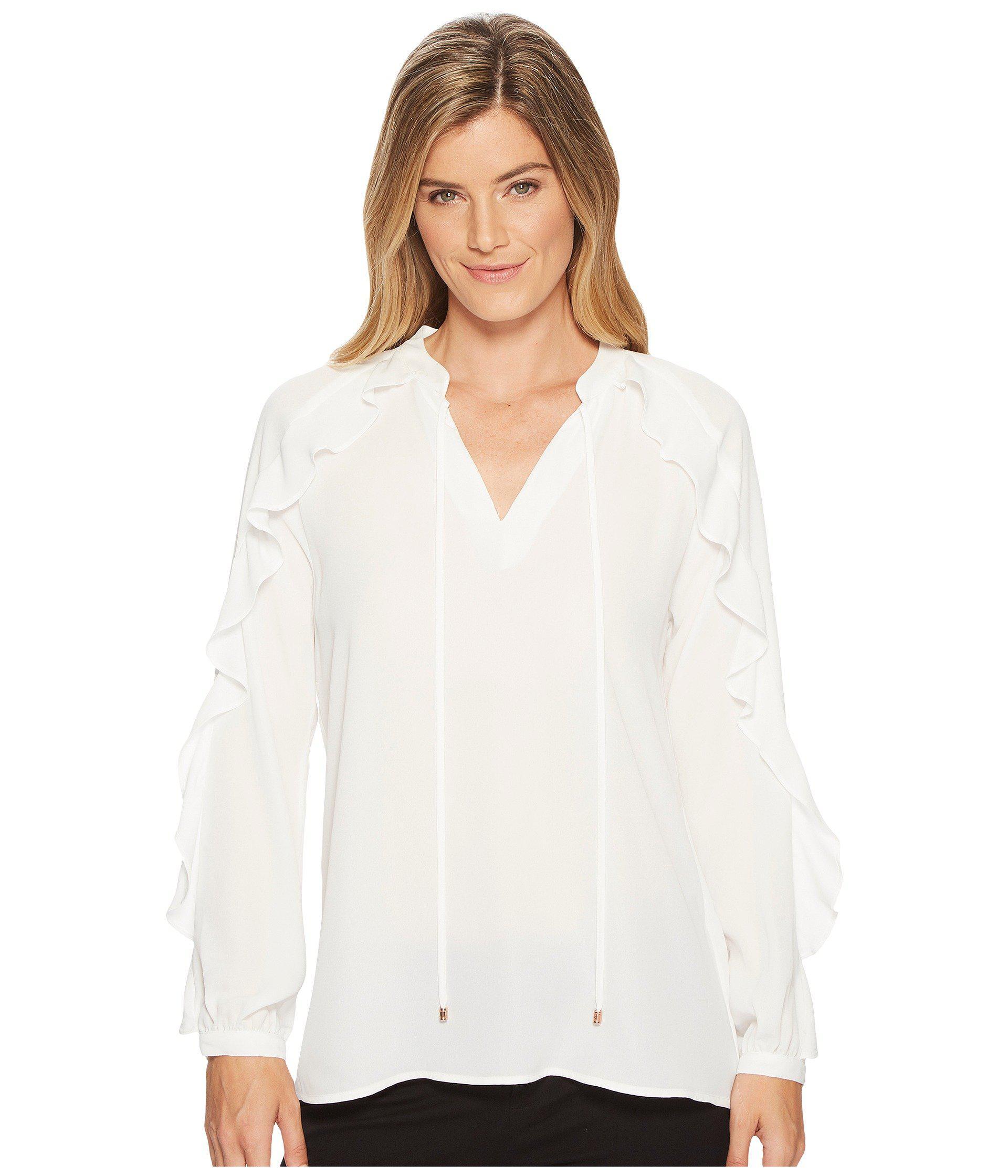 453f2a0ba6c314 Lyst - Ivanka Trump Georgette Long Sleeve Ruffle Blouse in White