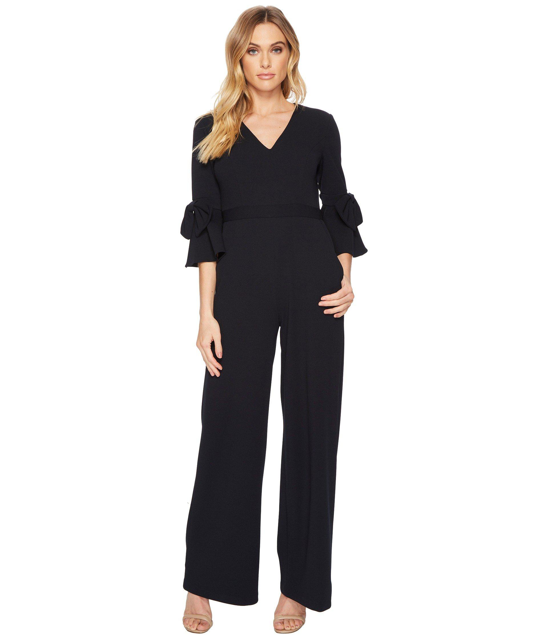 cd74a3fe1b495 Donna Morgan V-neck Crepe Jumpsuit W/ Bell Sleeve in Blue - Lyst