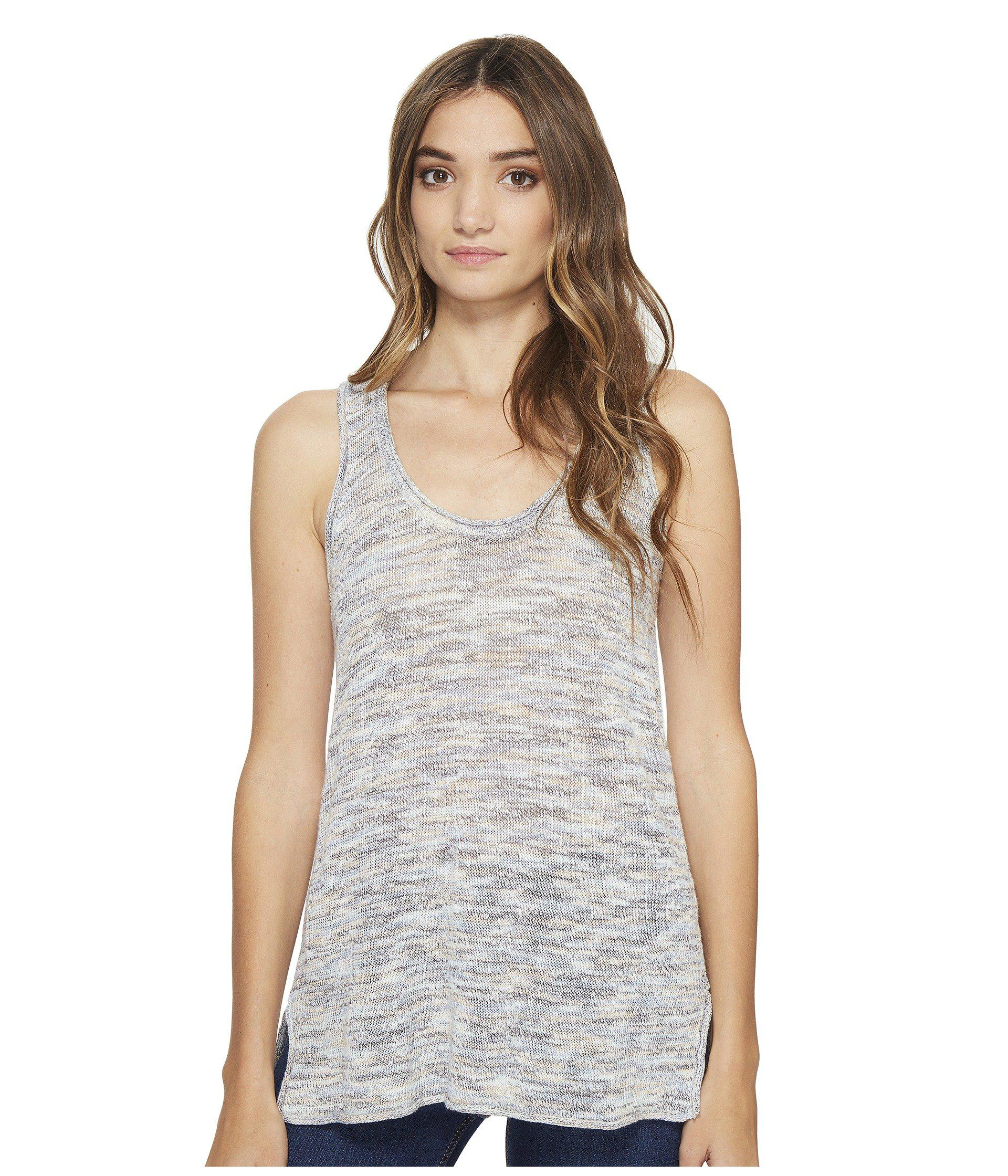 5ea877ba68df32 Lyst - Michael Stars Linen Blend Scoop Neck Tank Top in Blue - Save 65%