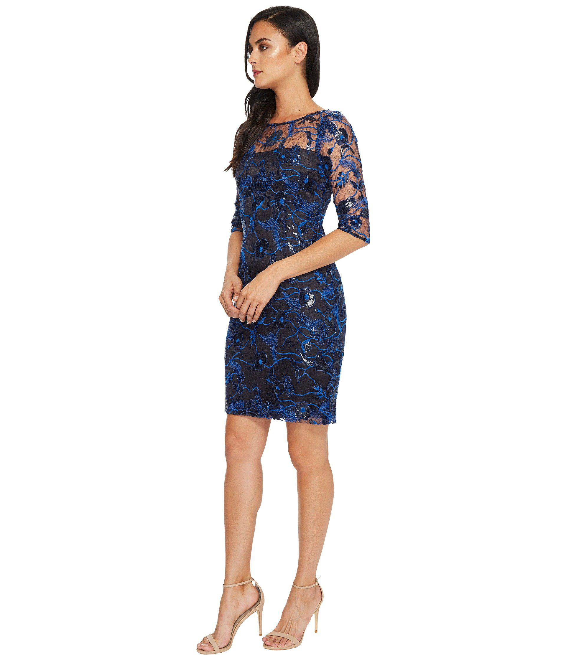 6ee92054 Lyst - Tahari Embroidered Mesh Sheath Dress in Blue - Save 44%
