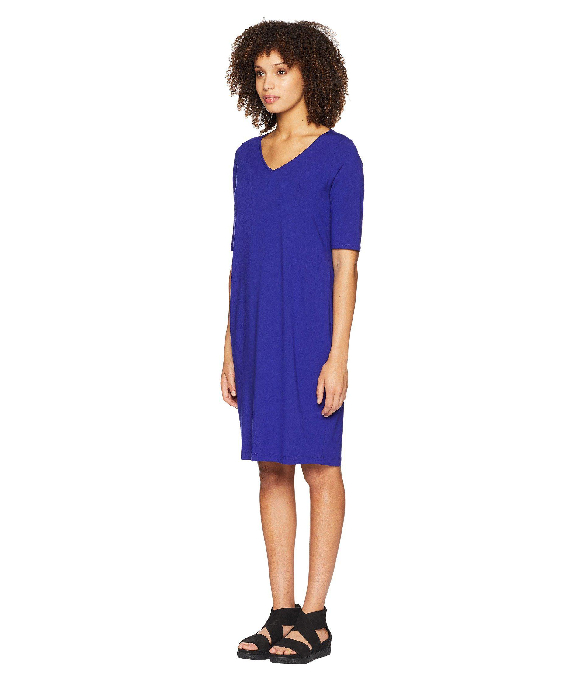 63dcbc2790 Lyst - Eileen Fisher V-neck Shift Dress in Blue - Save 50%