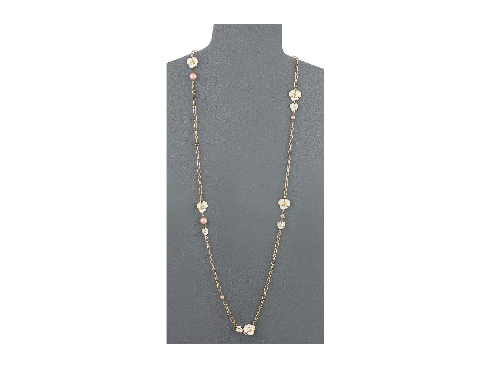 f6f38935454e Lyst - Tory Burch Fleur Rosary Necklace