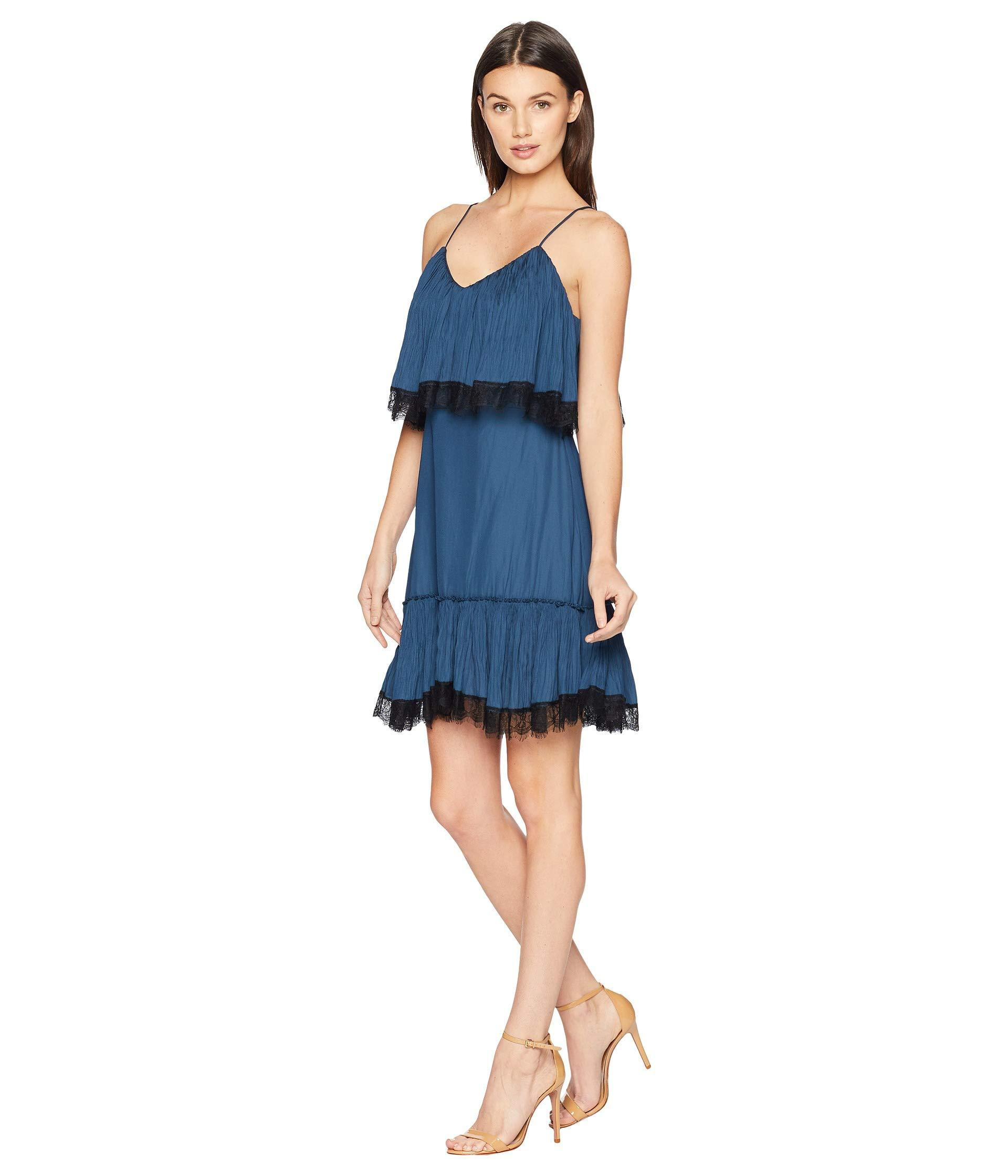 4634988f518 Lyst - Halston Sleeveless V-neck Pleated Dress W  Lace in Blue