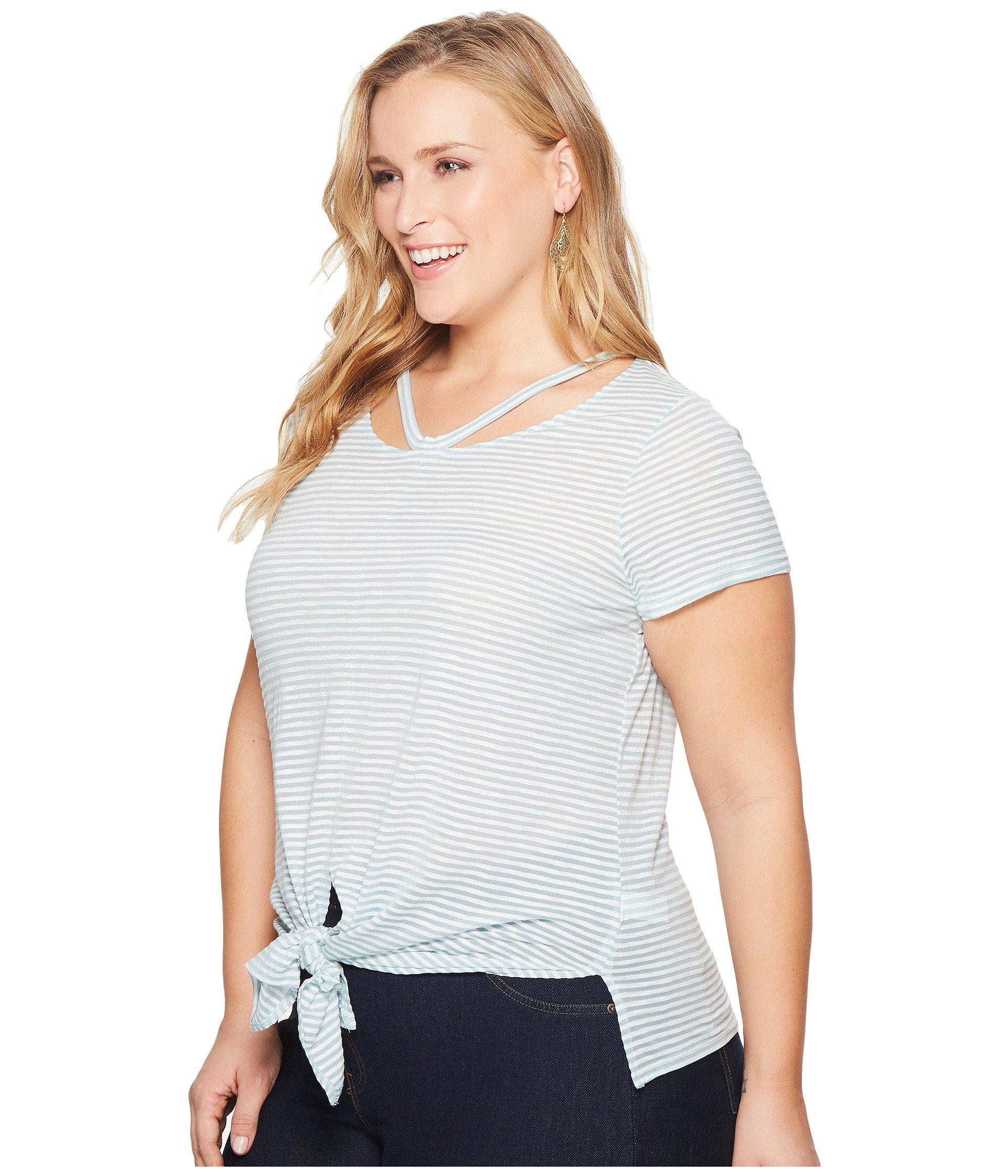 23bedbd7c Lyst - Lucky Brand Plus Size Shadow Stripe Tee in Blue - Save 24%