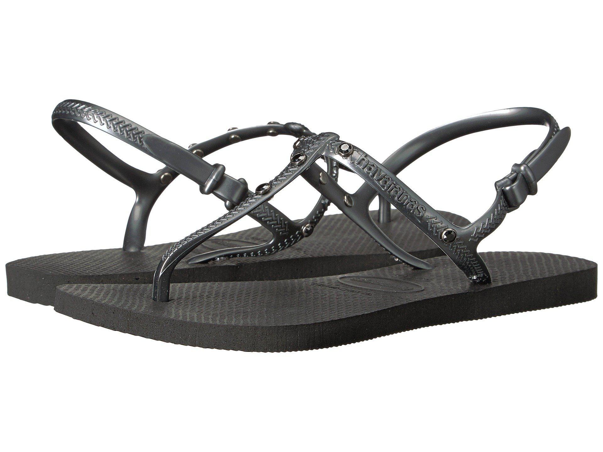 a0786d3a8 ... a9aca9cedafc5e Lyst - Havaianas Freedom Crystal Sw Flip-flops in Black  ...