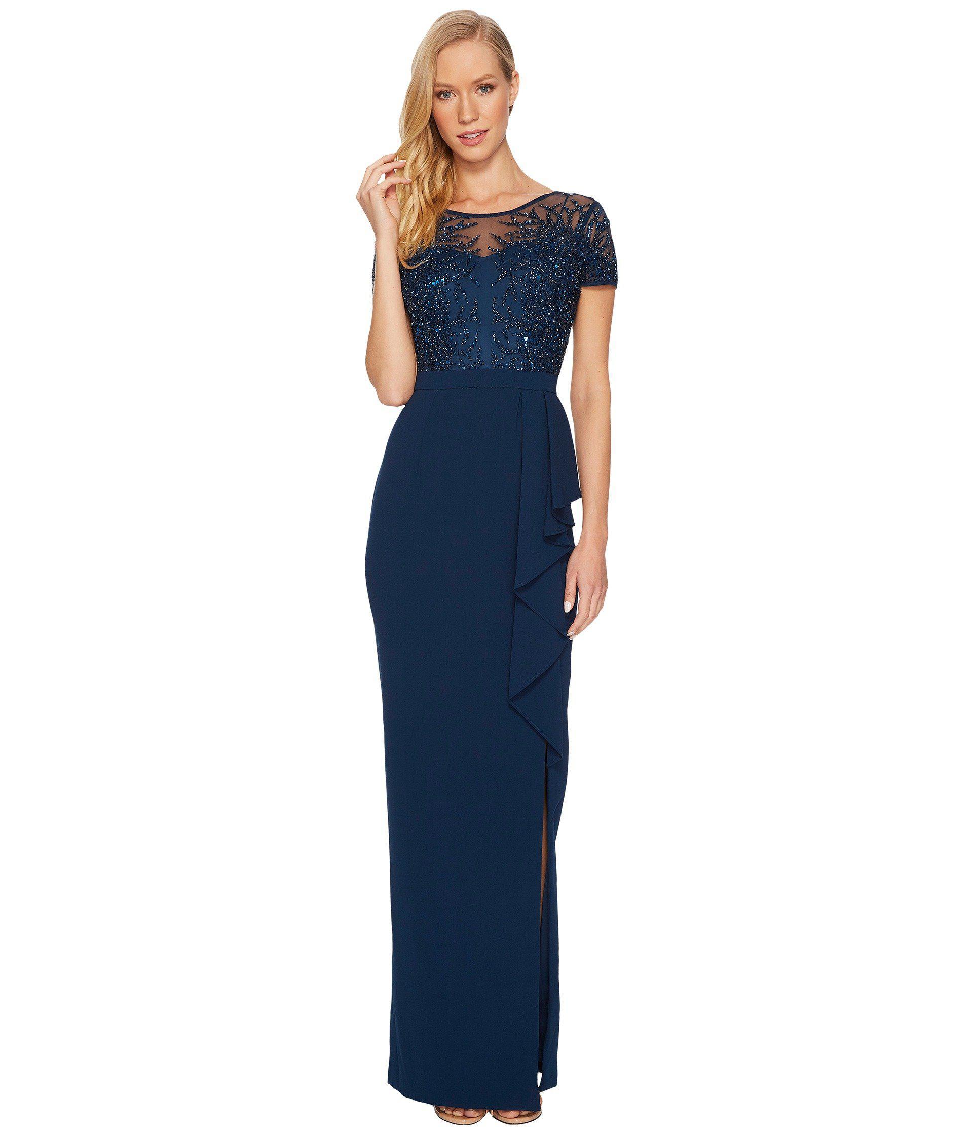 Beaded Blouson Gown With Sheer Details | Lauren Goss