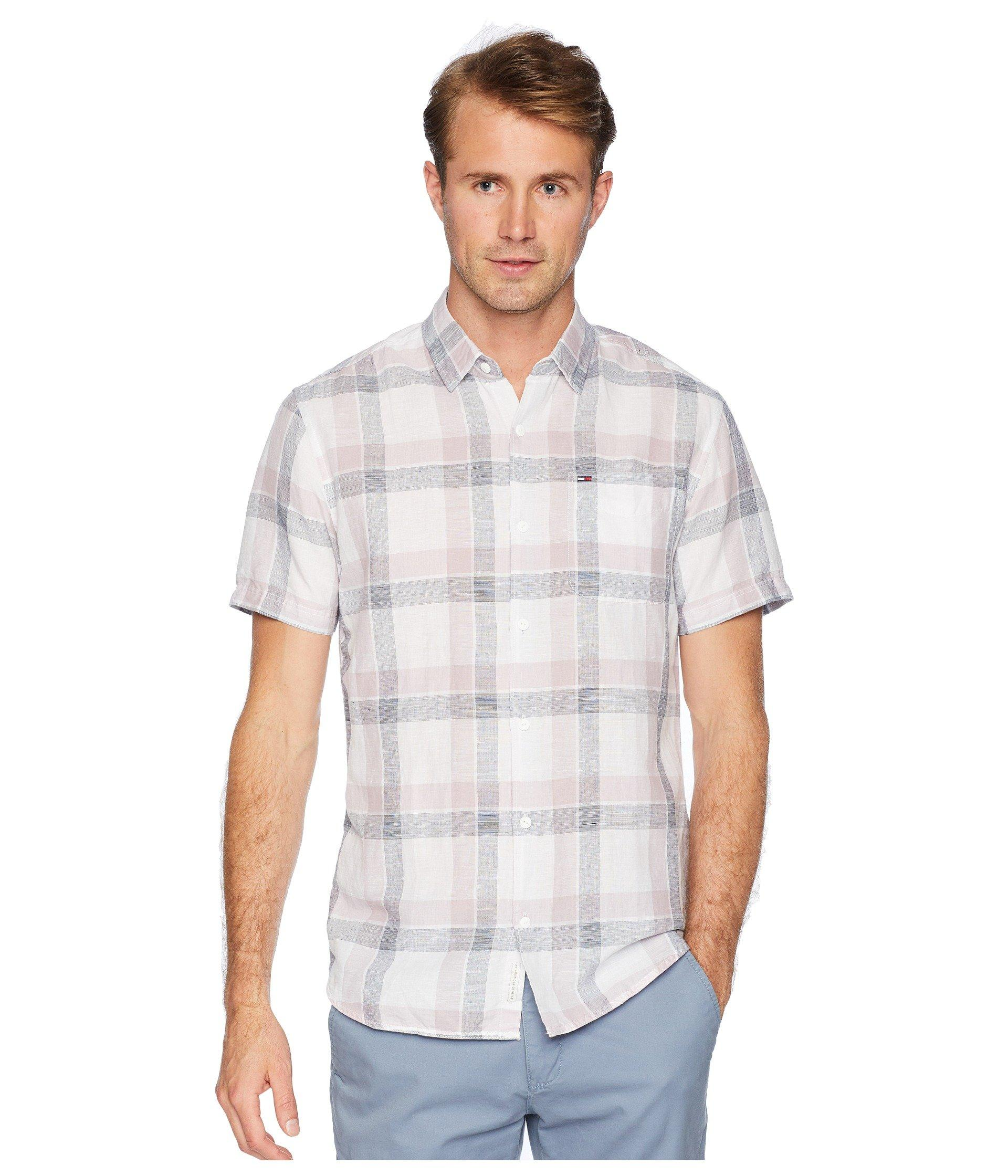 635c51c0 Lyst - Tommy Hilfiger Check Linen Short Sleeve Button Down Shirt in ...