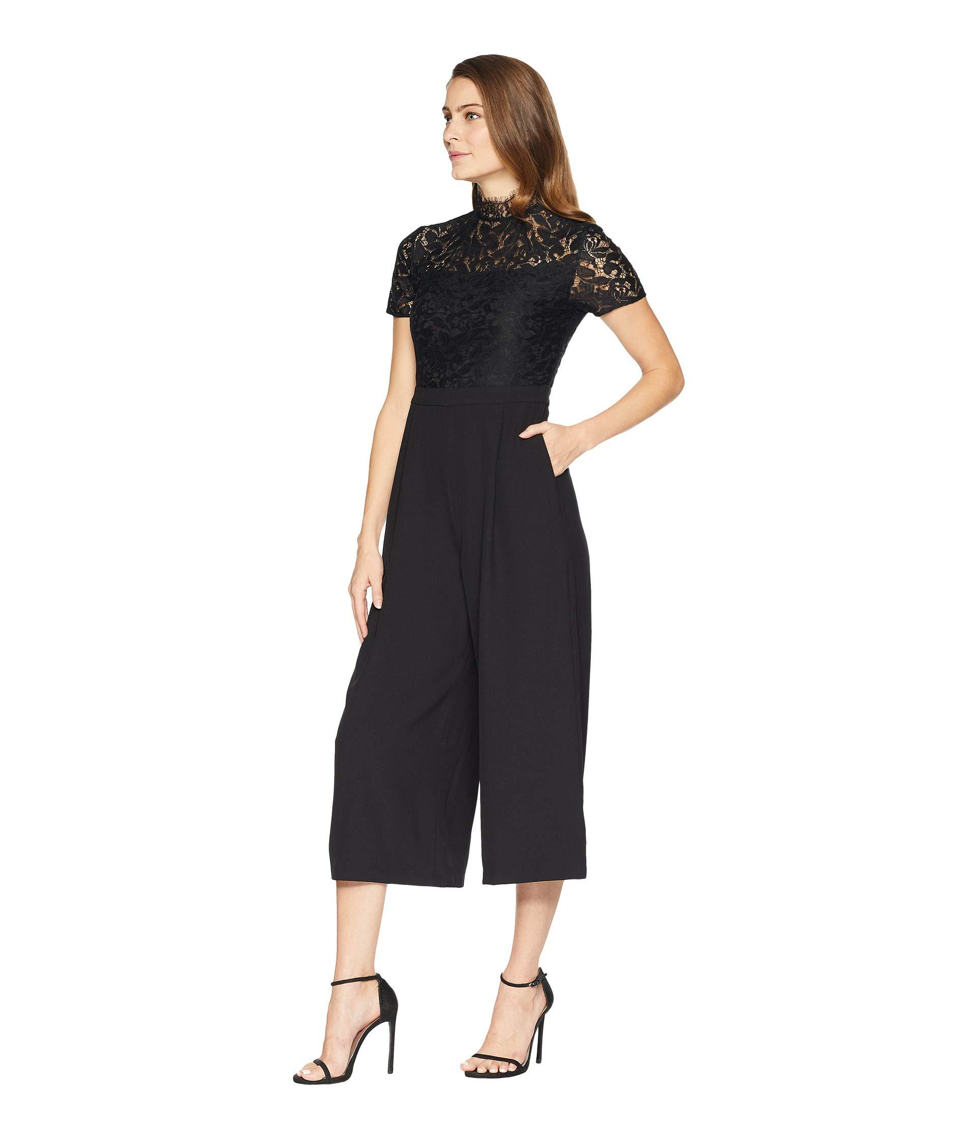 30774af309a Lyst - Catherine Malandrino Lace Cropped Jumpsuit in Black