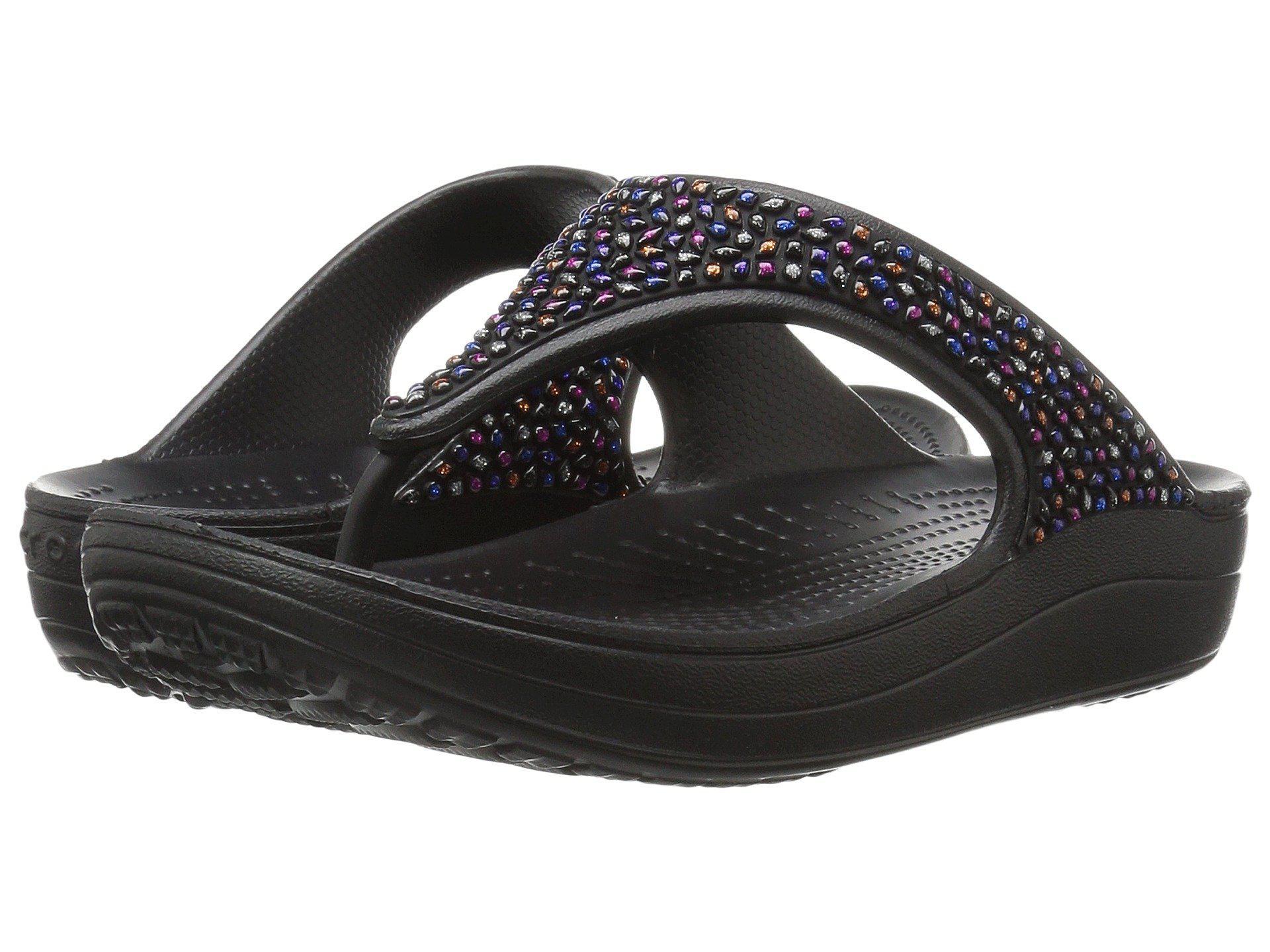 8f2291b3b3e6 Lyst - Crocs™ Sloane Embellished Flip in Black