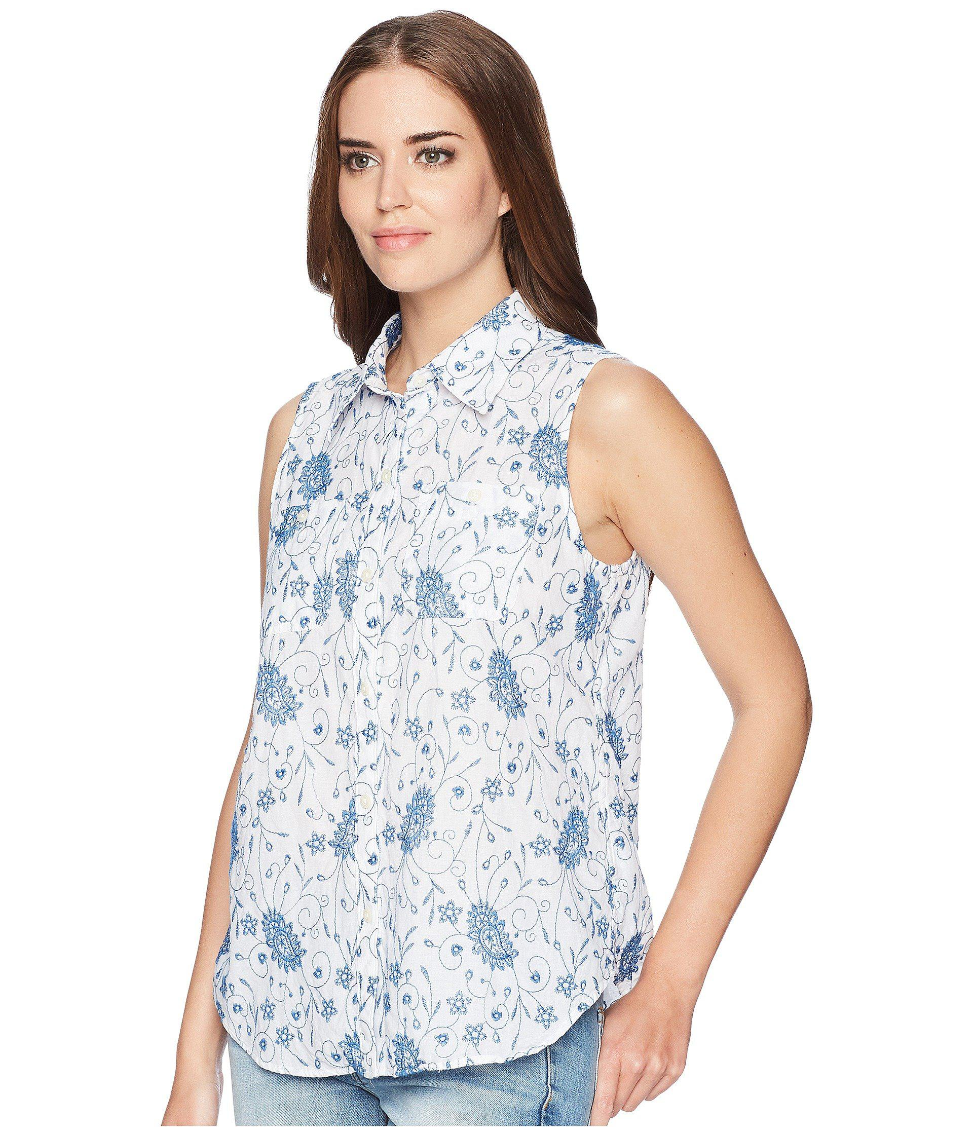 873ff66cce2 Chaps - Blue Floral-embroidered Sleeveless Shirt - Lyst. View fullscreen