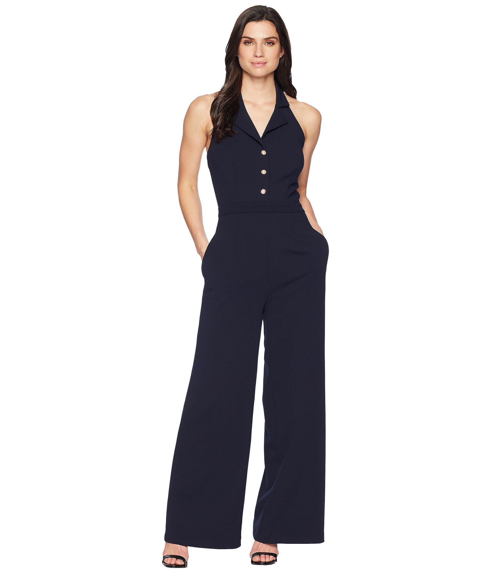 e6e20fa3ba49 Lyst - Ivanka Trump Halter Neck Maxi Jumpsuit in Blue - Save 43%