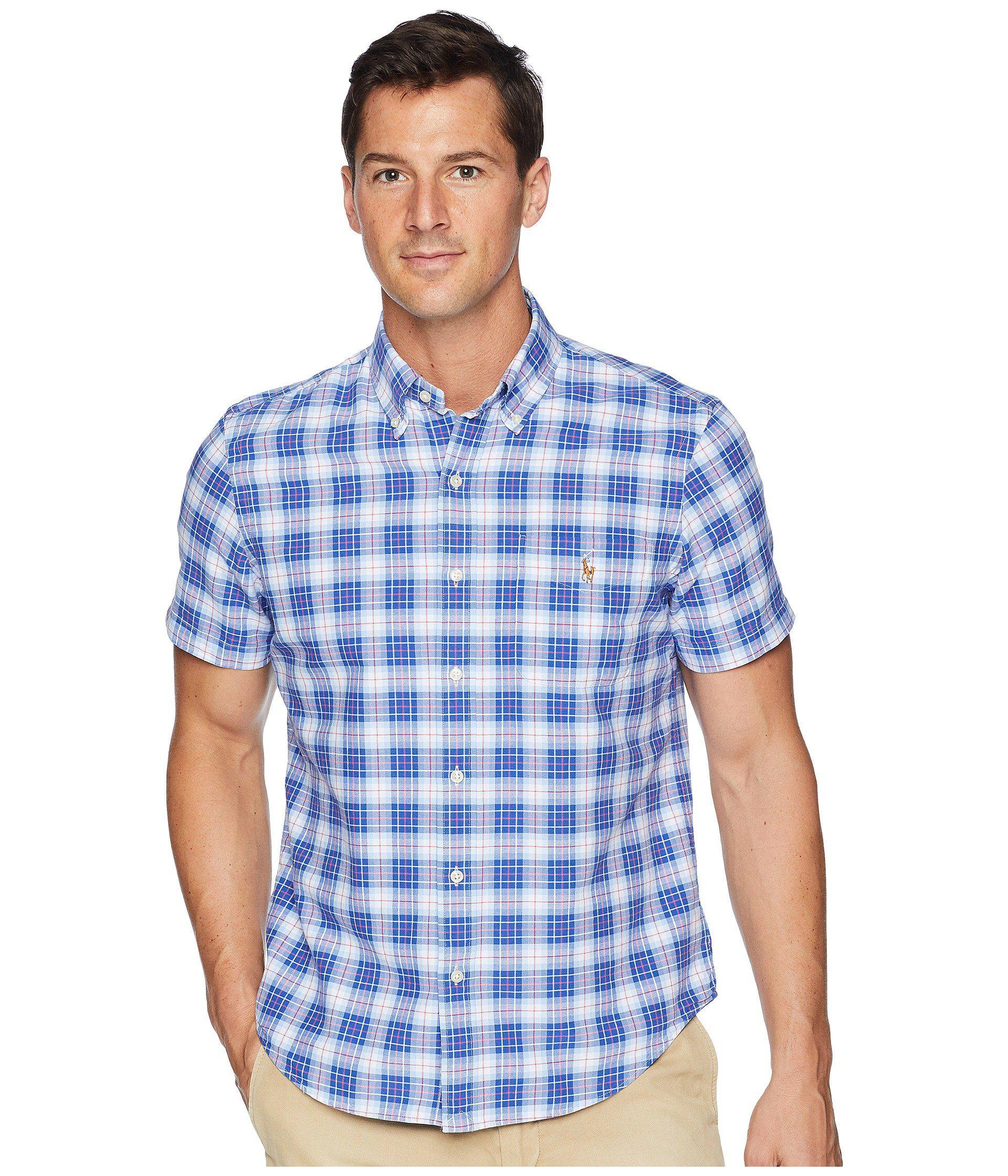 6167992131da ... promo code polo ralph lauren. mens blue button down short sleeve sport  shirt 9a7f9 8fc42