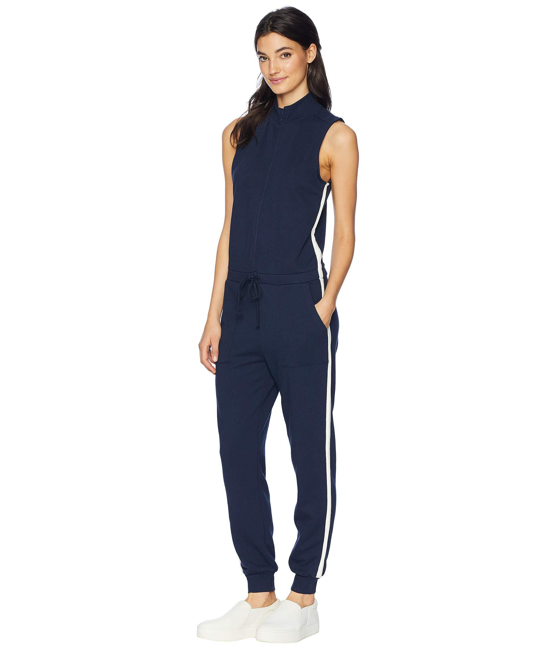 a4b21b360e8d Lyst - Juicy Couture Knit Terry Color Block Stripe Jumpsuit in Blue