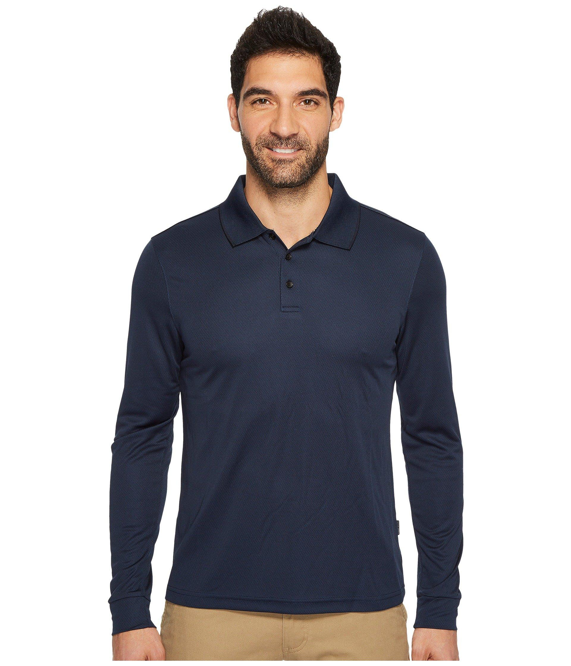 30b0aa994e Lyst - Perry Ellis Three-button Long Sleeve Jacquard Polo in Blue ...