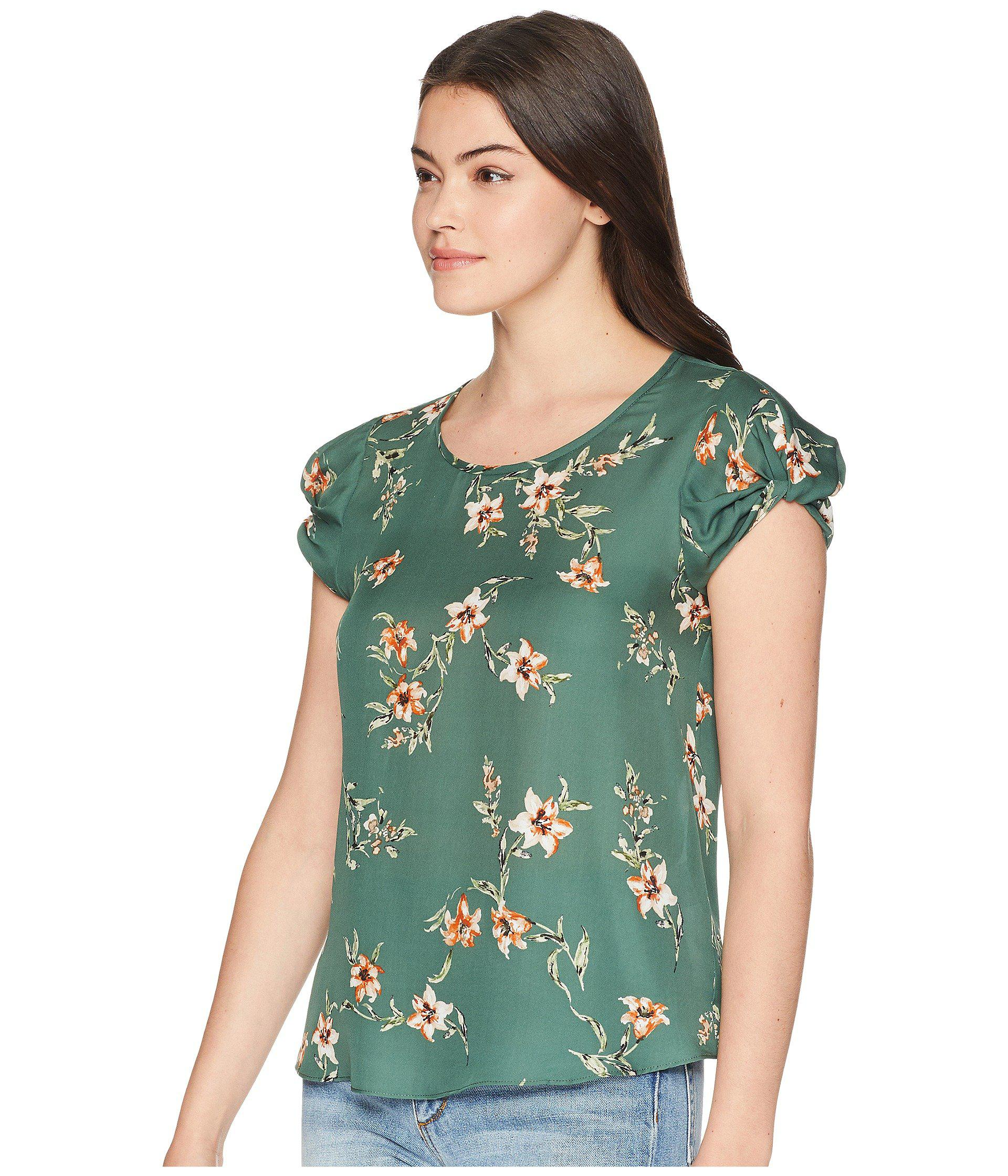 2ea7f0c533d43 Joie - Woman Knotted Floral-print Silk Crepe De Chine Top Forest Green -  Lyst. View fullscreen
