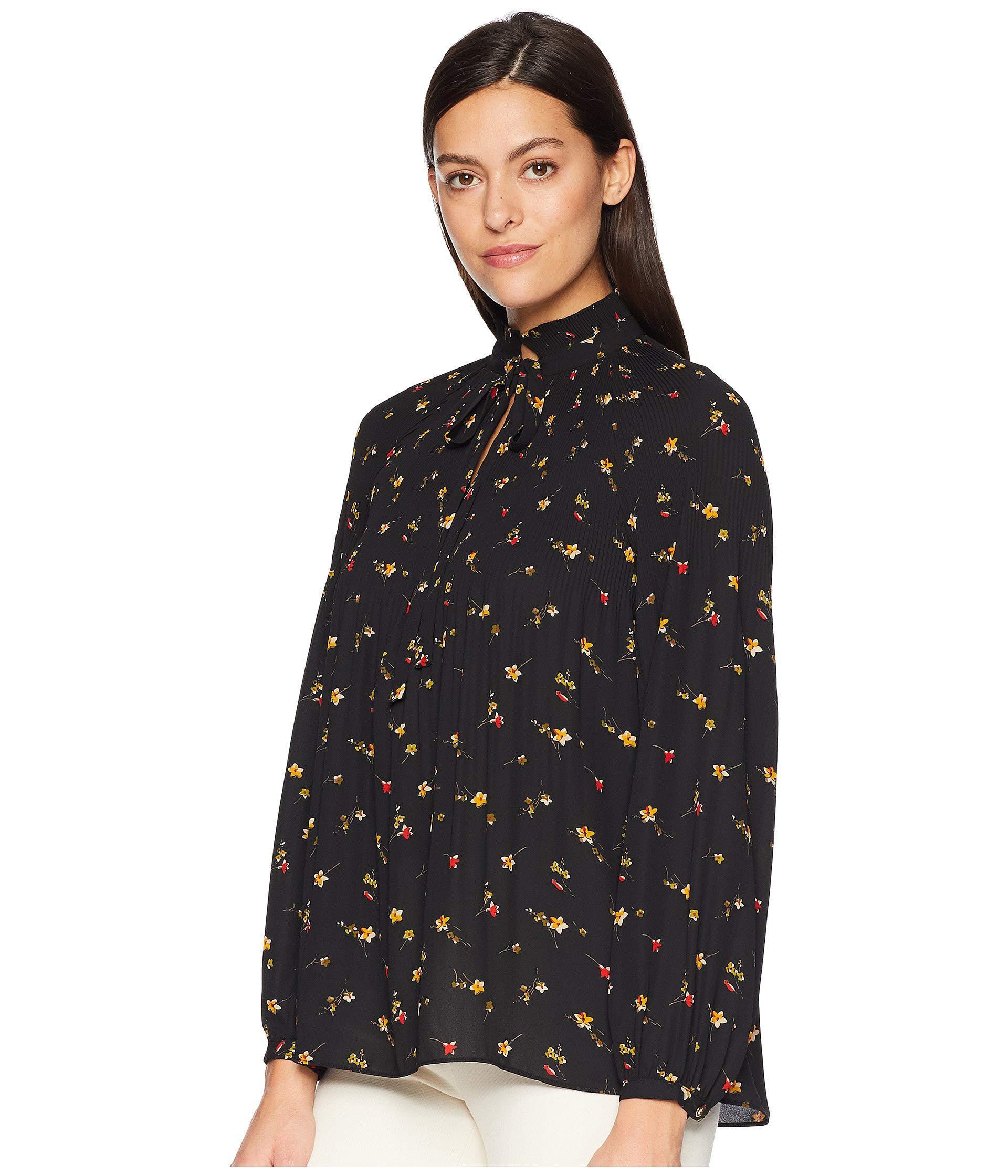 73ec7d6e885e9 Lyst - Lauren by Ralph Lauren Print Georgette Tie Neck Top in Black - Save  36%