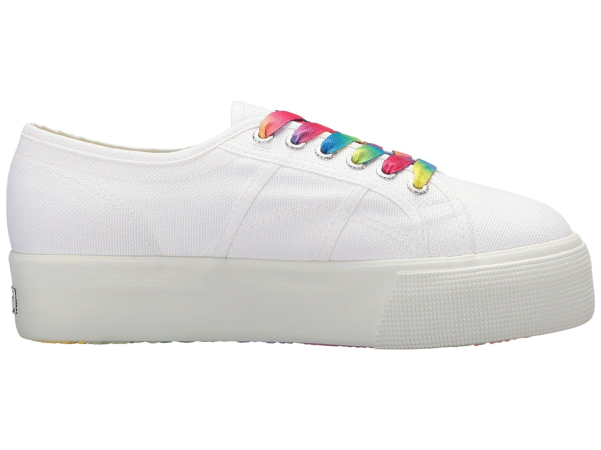 9aa7a85d99a Lyst - Superga 2790 Cotw Multicolor Outsole Platform Sneaker in White -  Save 26%