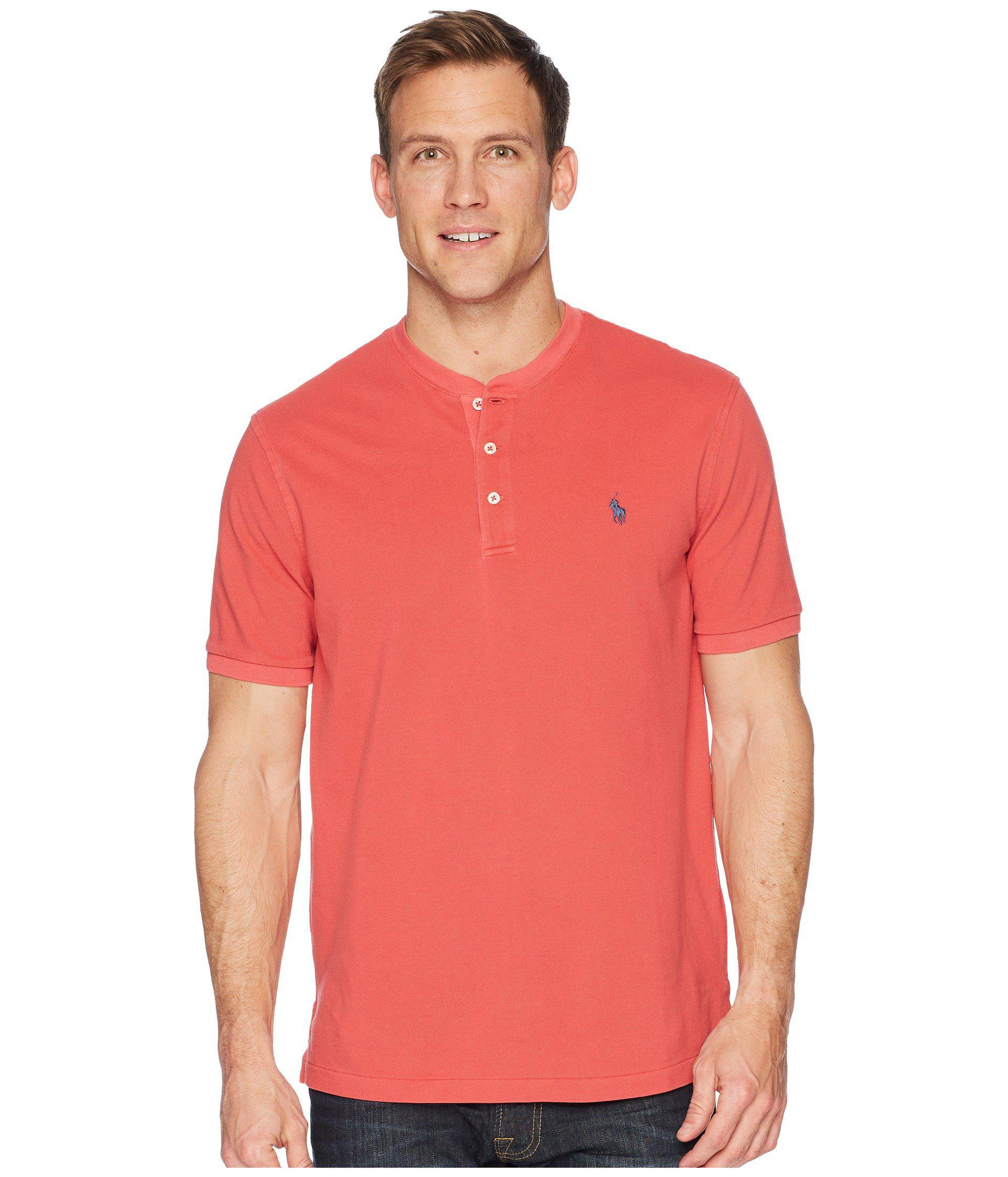 79b92a5d3 Polo Ralph Lauren Featherweight Mesh Short Sleeve Knit Henley in Red ...