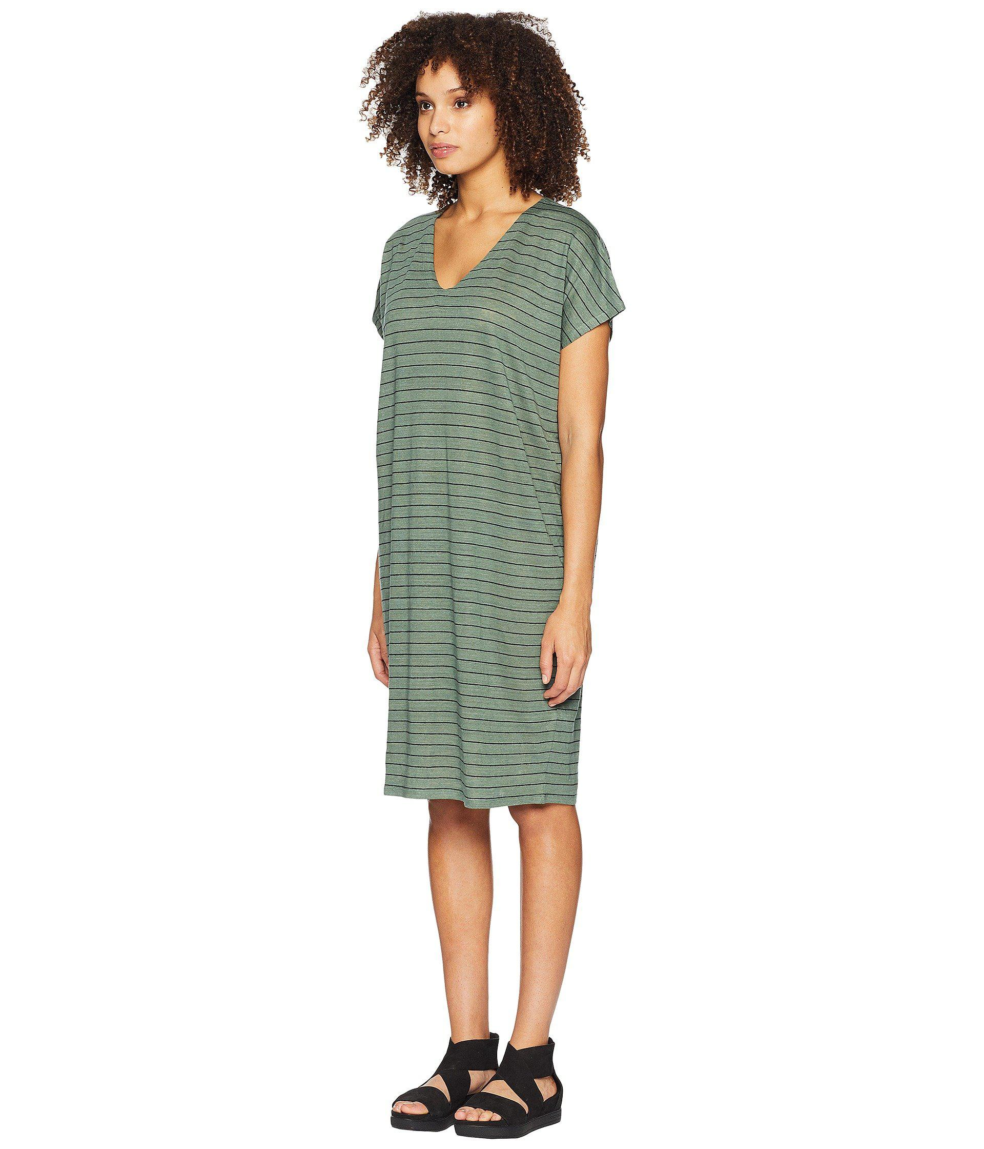 0a9c4ae0473ce Lyst - Eileen Fisher V-neck Knit Linen Dress in Green - Save 50%