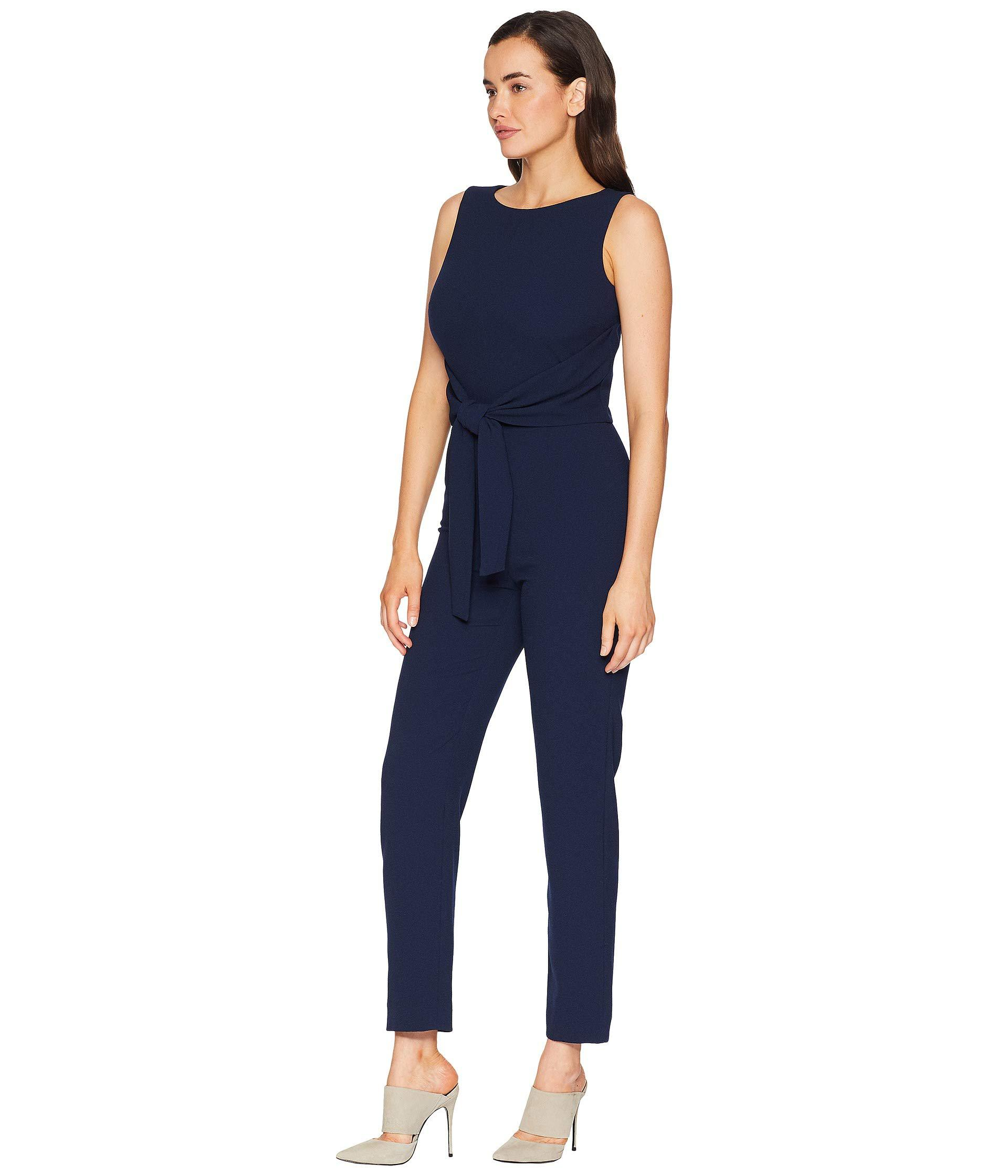 eccd3710f71e Lyst - Tahari Sleeveless Crepe Jumpsuit With Tie Waist in Blue