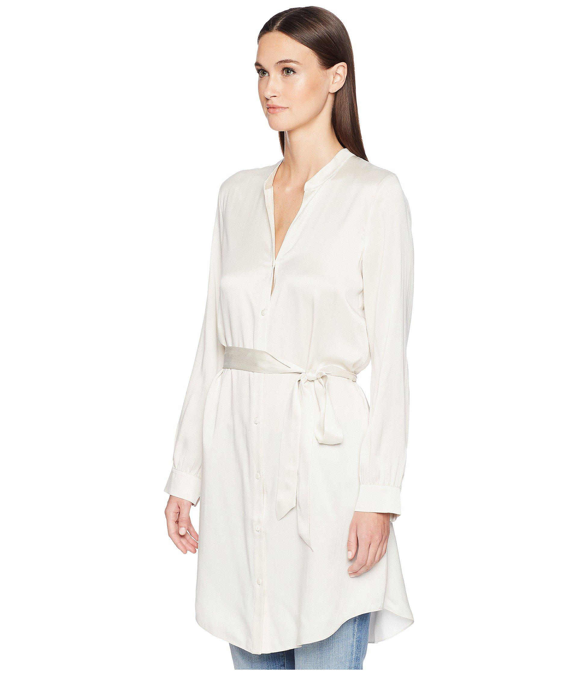 936e6684dd5d6 Lyst - Eileen Fisher Silk Charmeuse Shirt Dress. in White - Save 55%