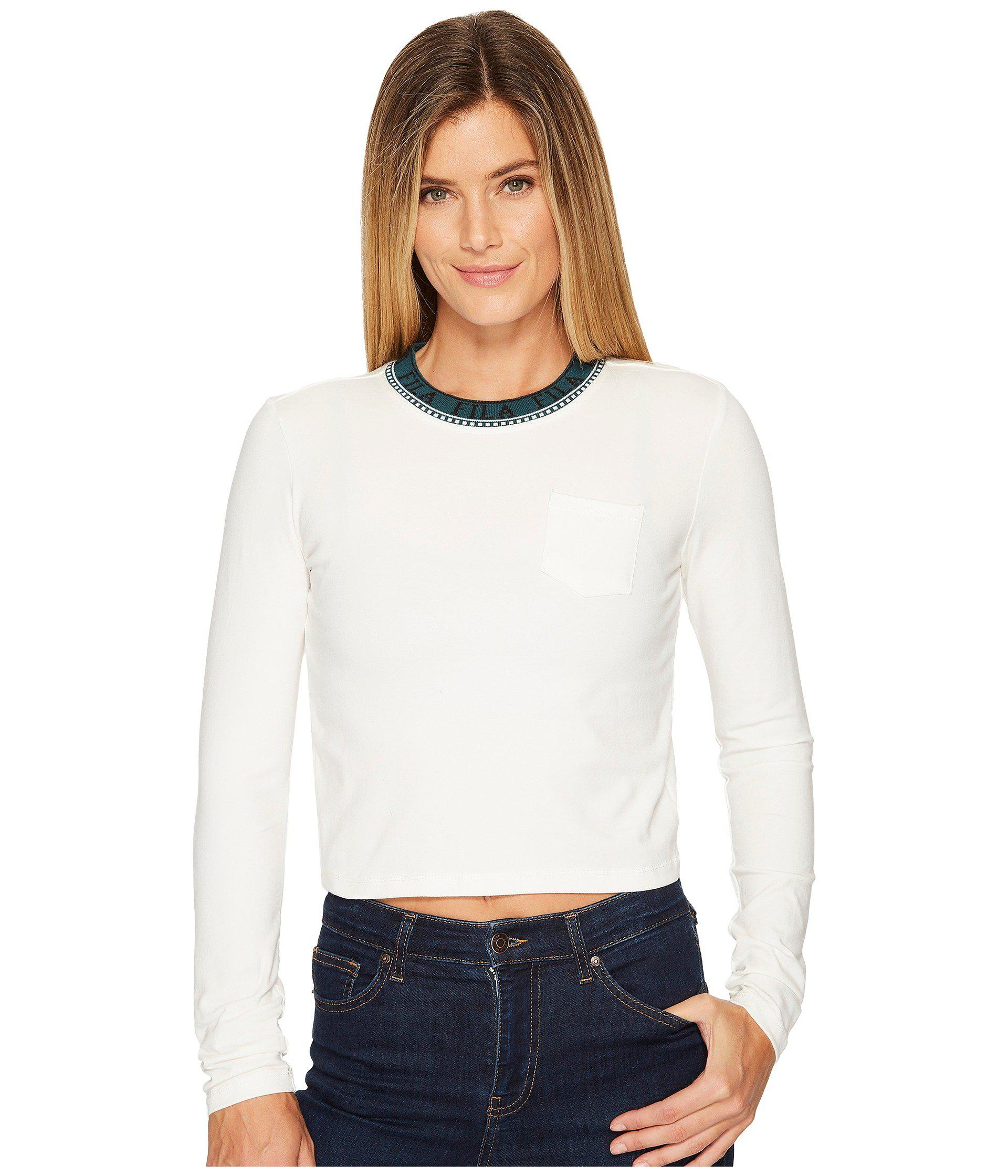 35c9613d8242bb Lyst - Fila Rebecca Long Sleeve Top in White - Save 24%