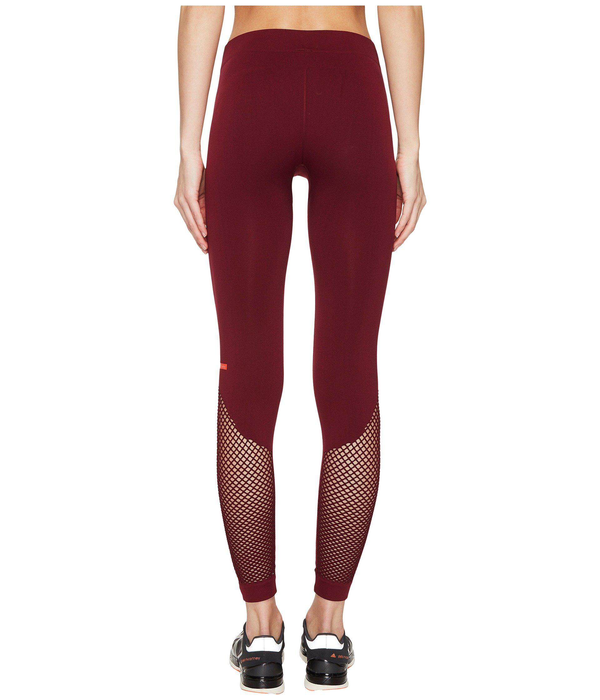 Lyst - adidas By Stella McCartney The Seamless Mesh Tights Bq1028 in Red 0d08b7259