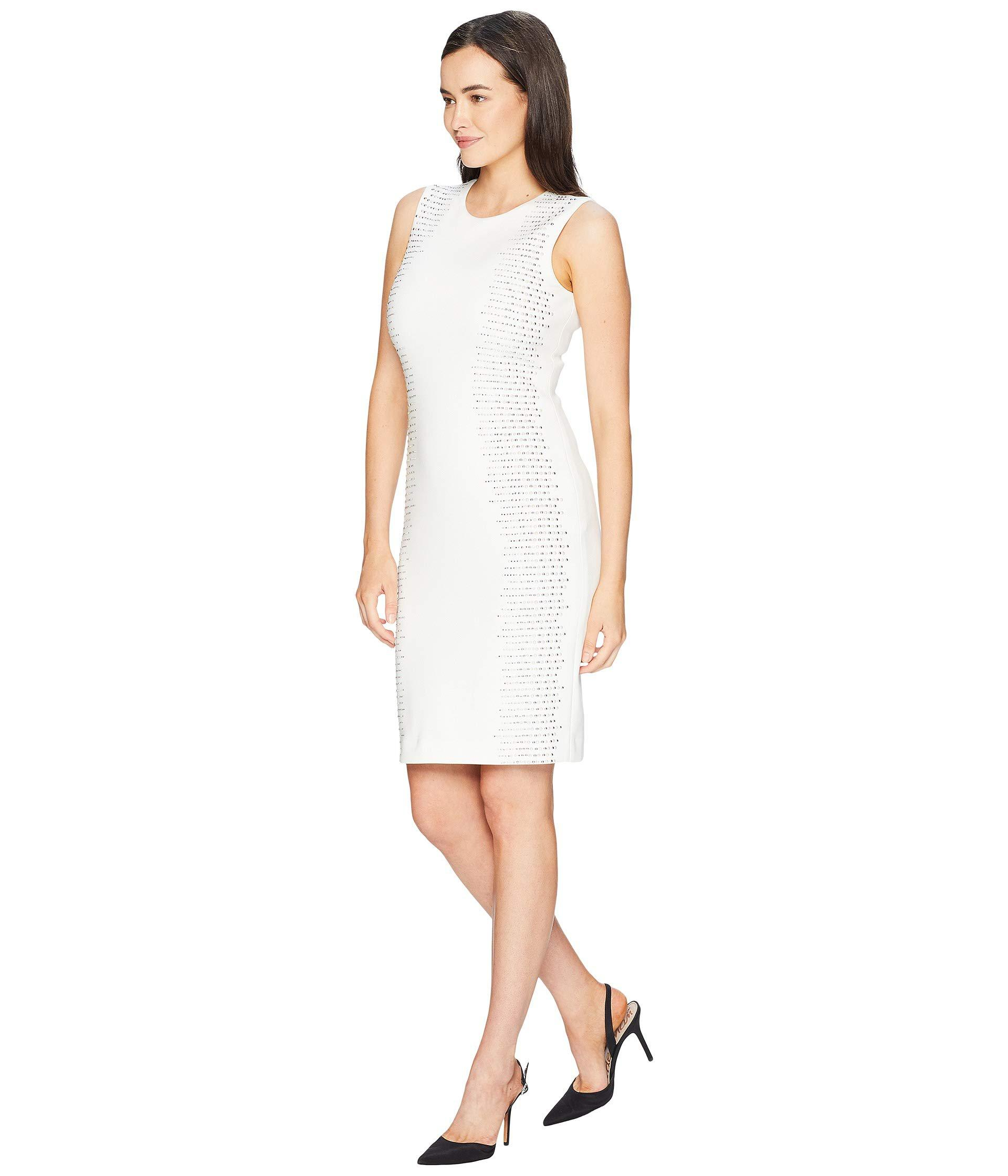 a040396fe625c Lyst - Calvin Klein Embellished Side Panels Sheath Dress Cd8m18tp in White  - Save 58%