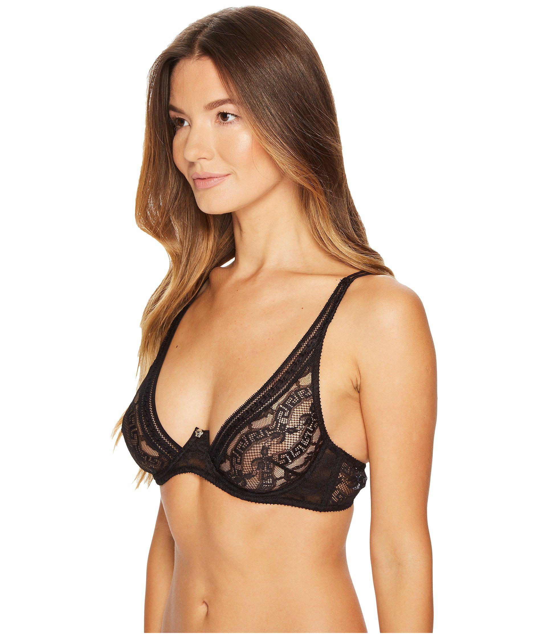 83f3878d33 Lyst - Versace Triangle Lace Greek Bra in Black