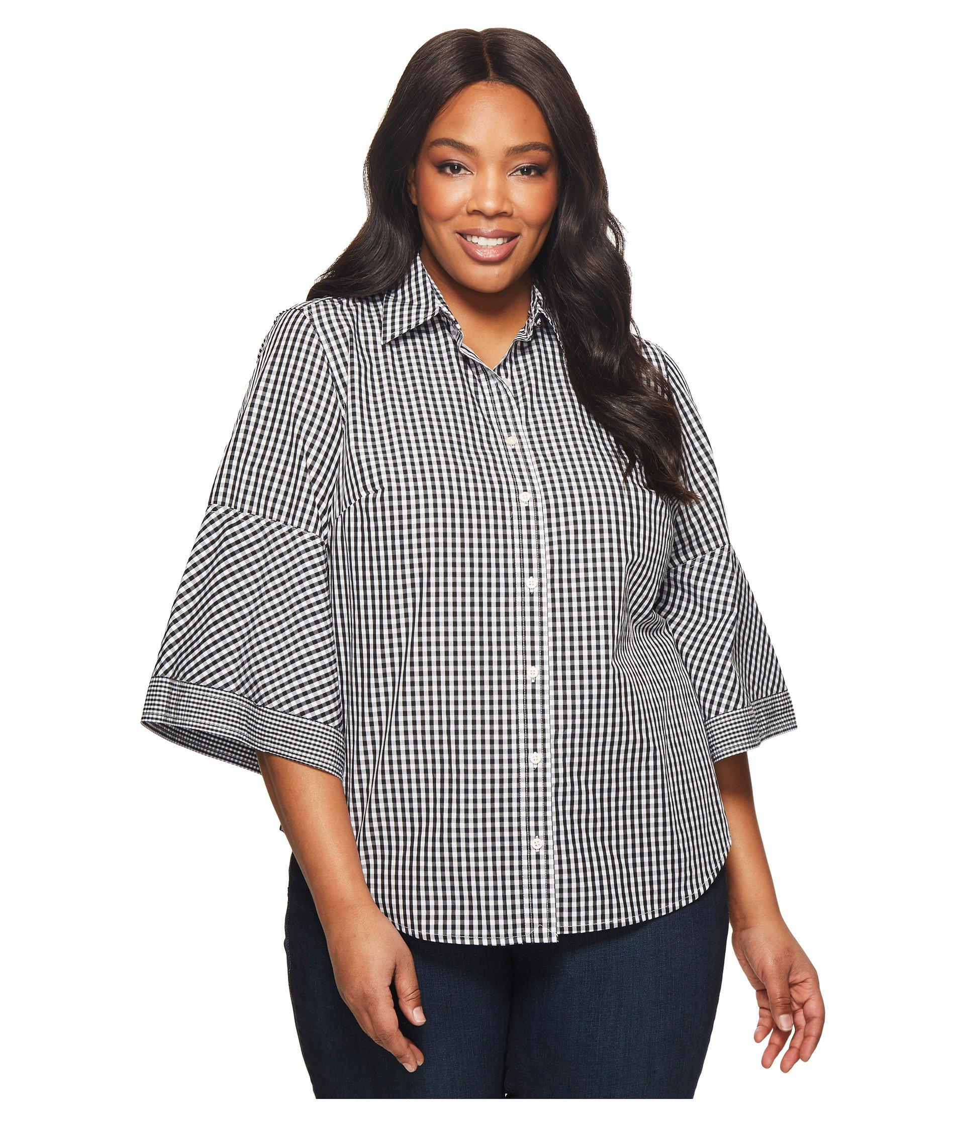 100538a404d Lauren by Ralph Lauren. Women s Black Plus Size Gingham Bell-sleeve Shirt