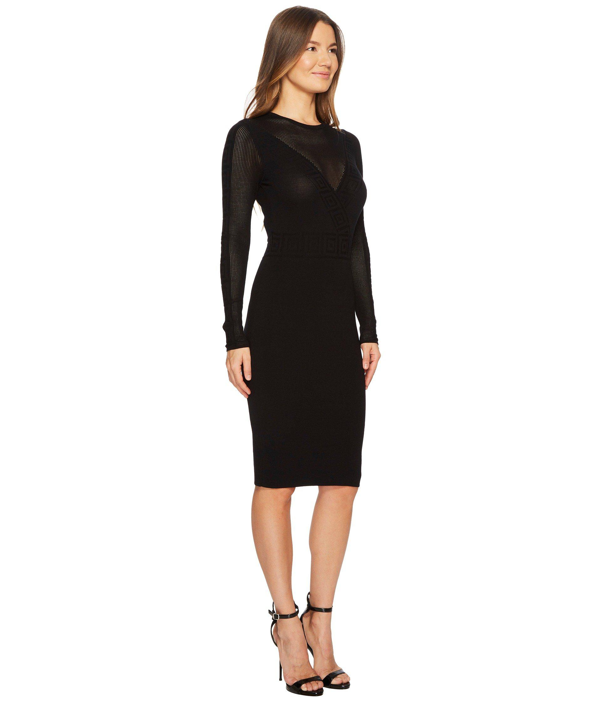 22263495685c Versace Abito Maglia Donna Long Sleeve Dress in Black - Lyst