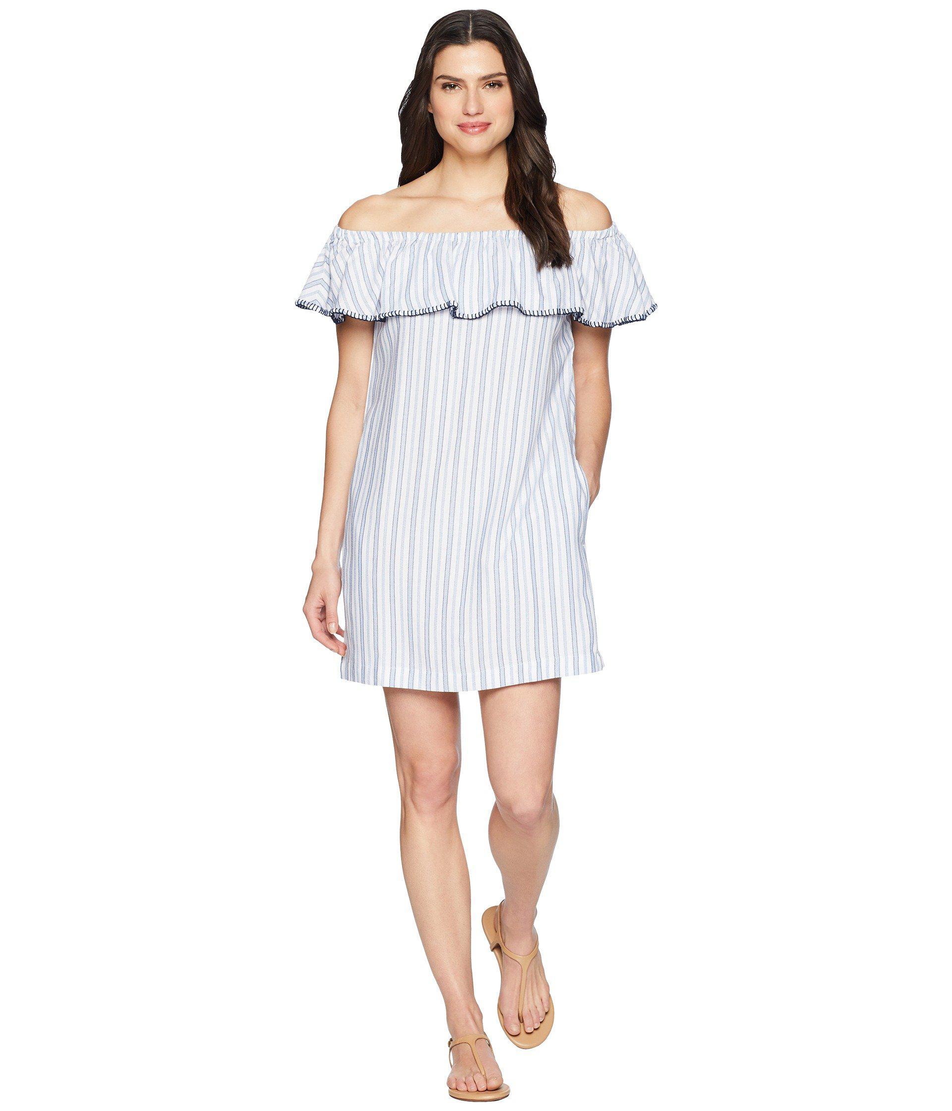 87cfe7e3f5 Tommy Bahama. Women's White Yarn-dye Ticking Off Shoulder Ruffle Dress Cover -up