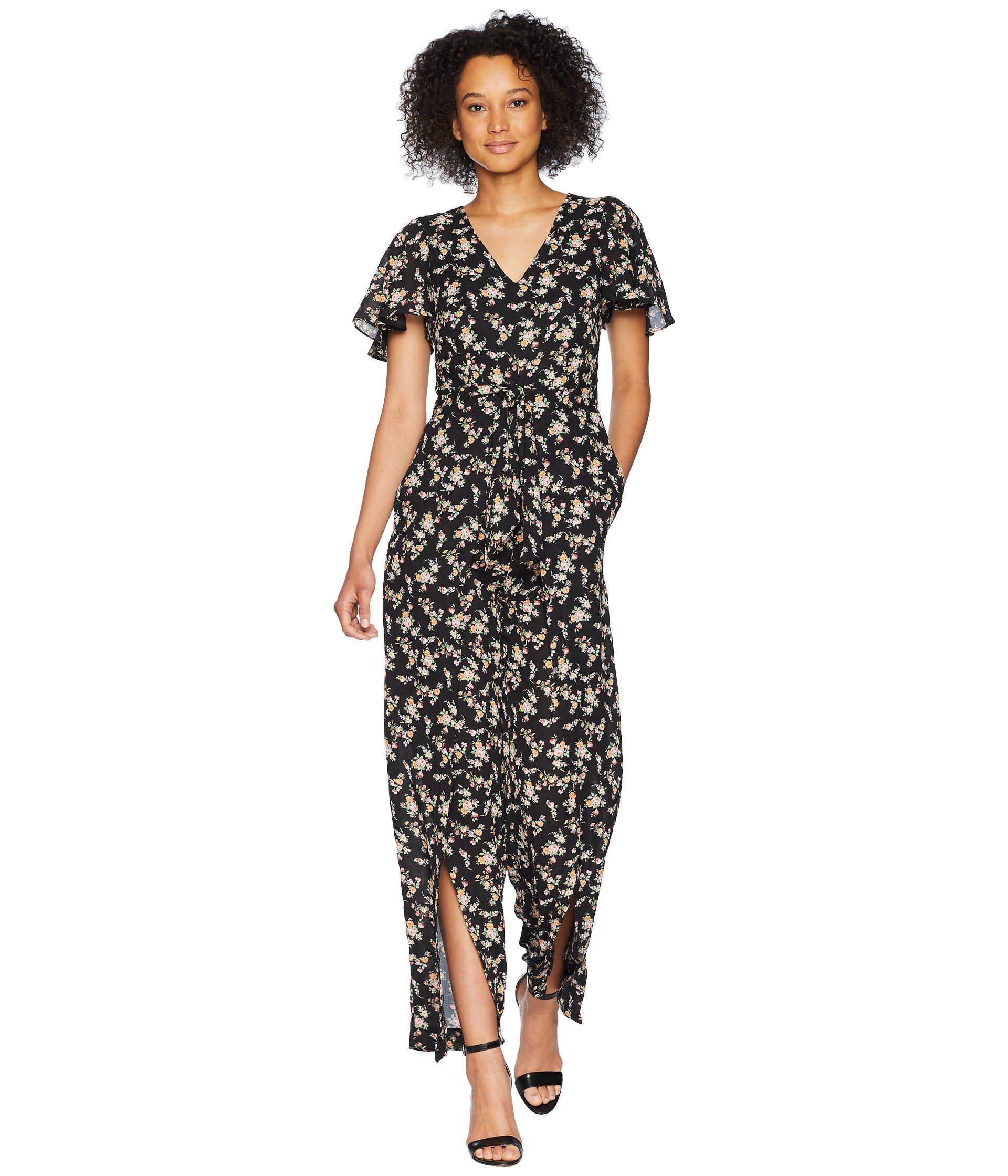 0a32cd6d1be5 Lyst - Tahari Split Leg Floral Tie Front Jumpsuit in Black - Save 38%
