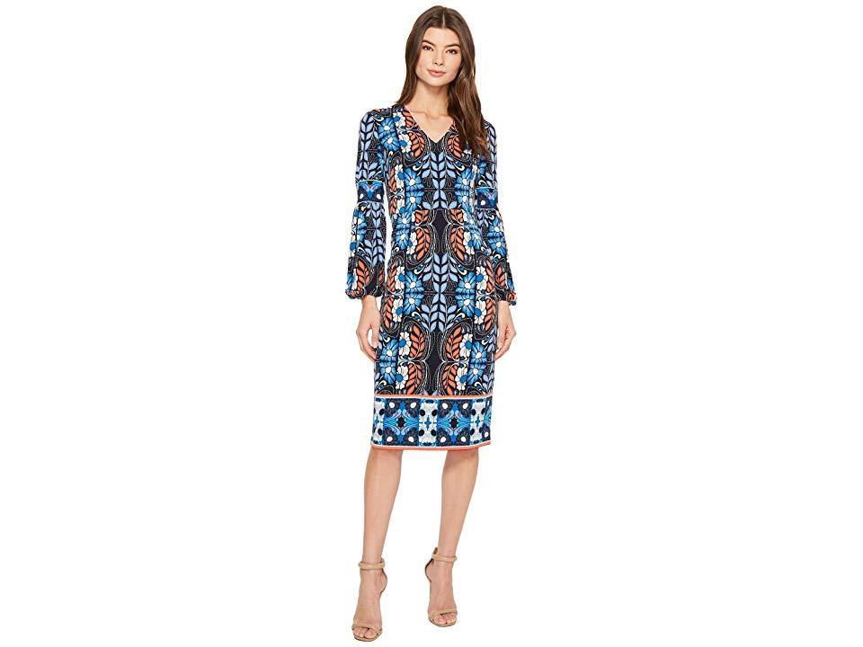 fd7148e086d0 Maggy London Folk Print Jersey Midi Sheath Dress (navy Blue) Dress ...