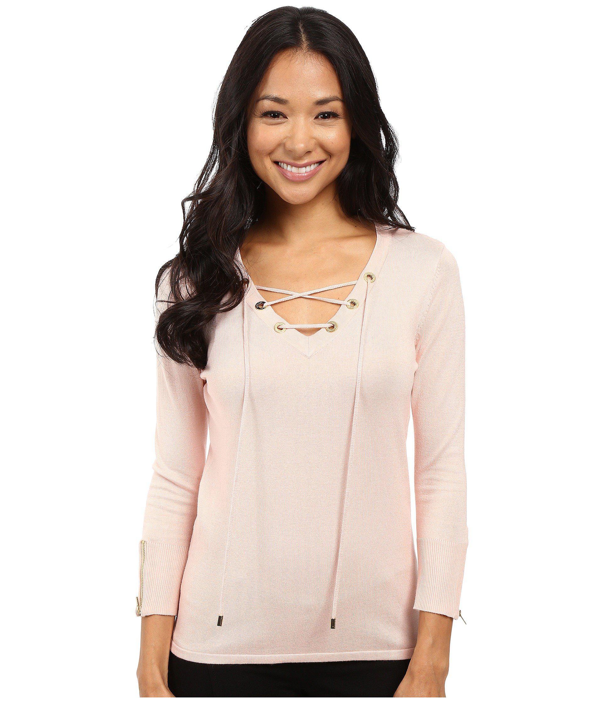 Lyst - Calvin Klein Fine Gauge Lace-up Sweater in Pink 59f4ea9c9