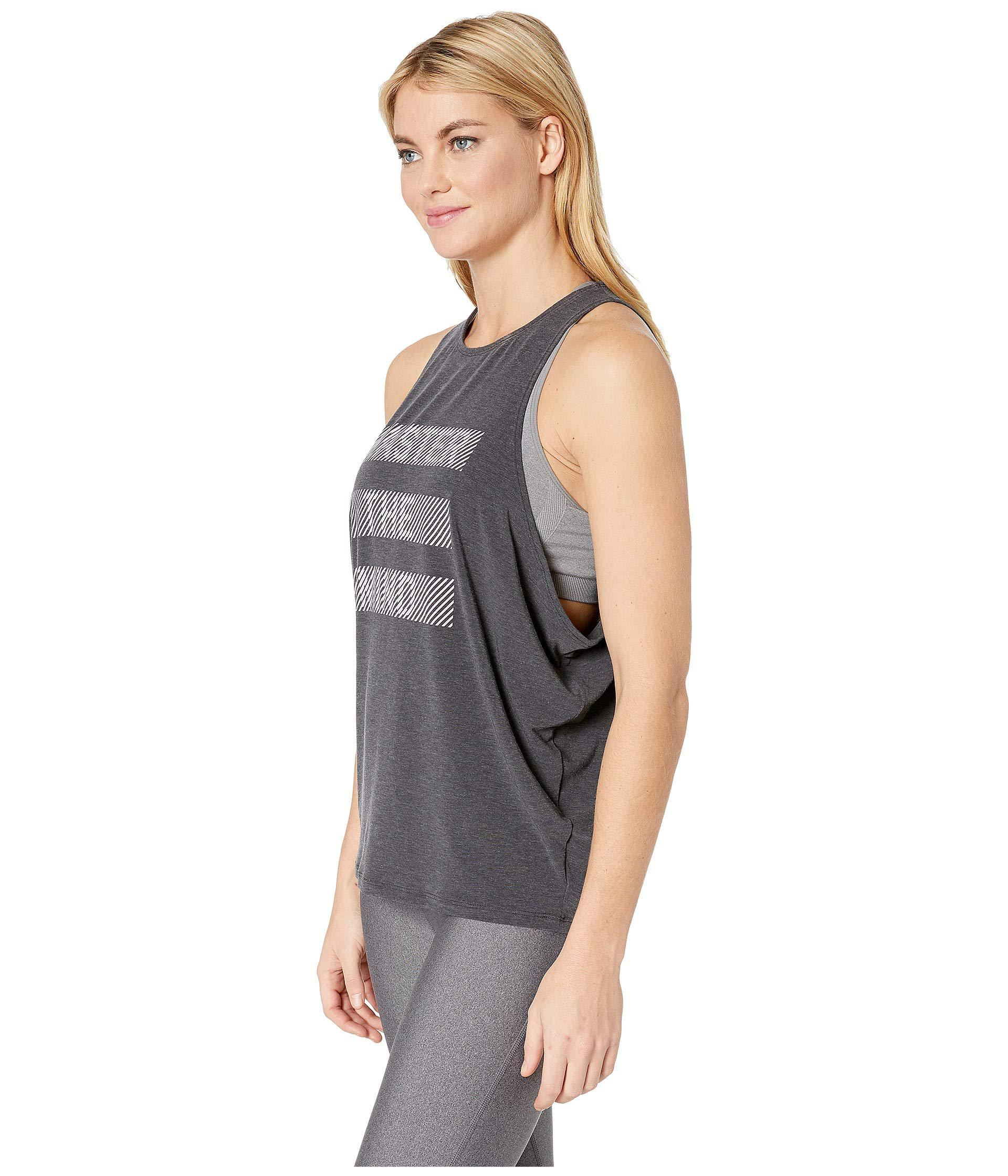 f970df117a9fb Lyst - New Balance Graphic Wedge Layering Tank Top in Black