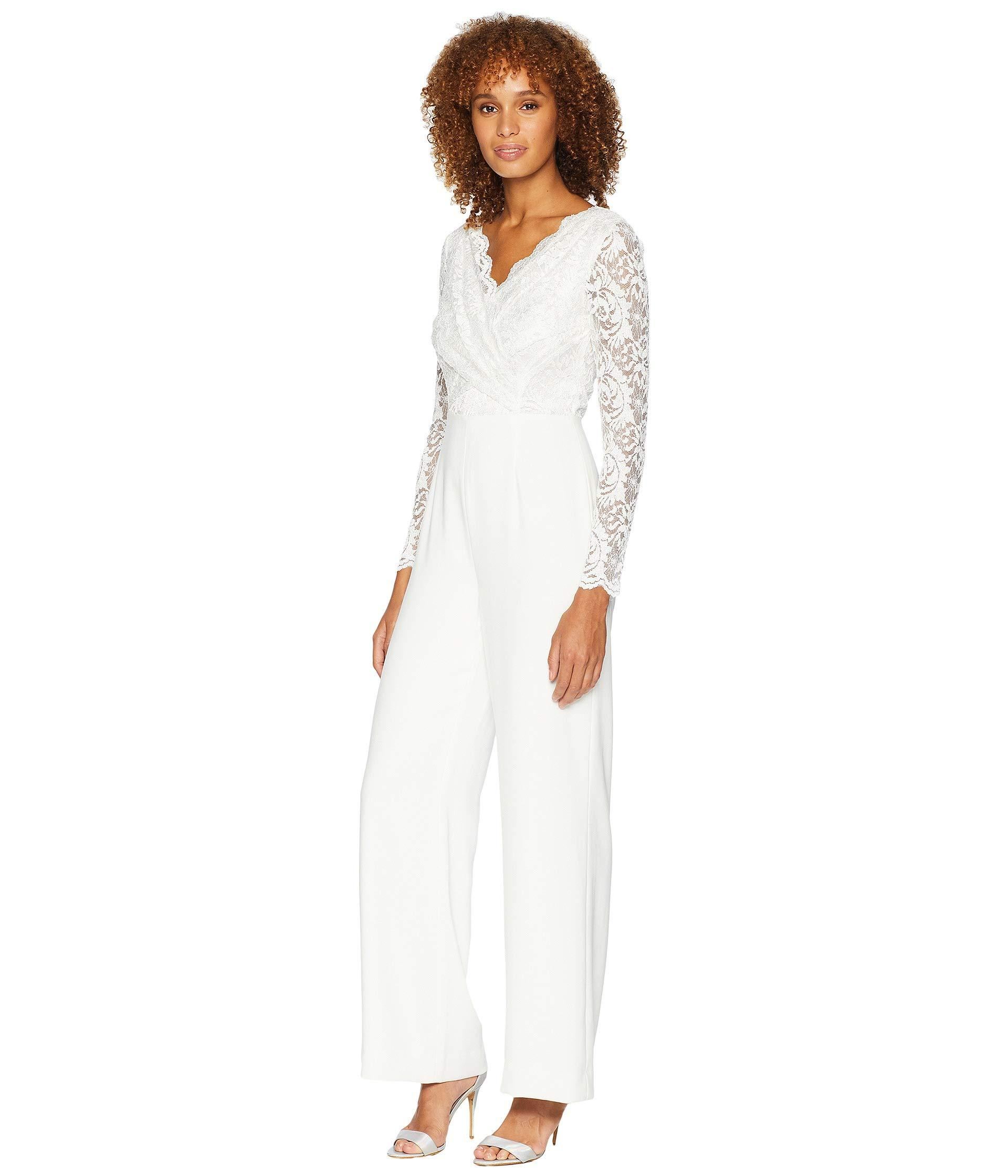 0b8550d7974 Lyst - Tahari Long Sleeve Crepe sequin Lace Jumpsuit With V-neckline in  White - Save 38%