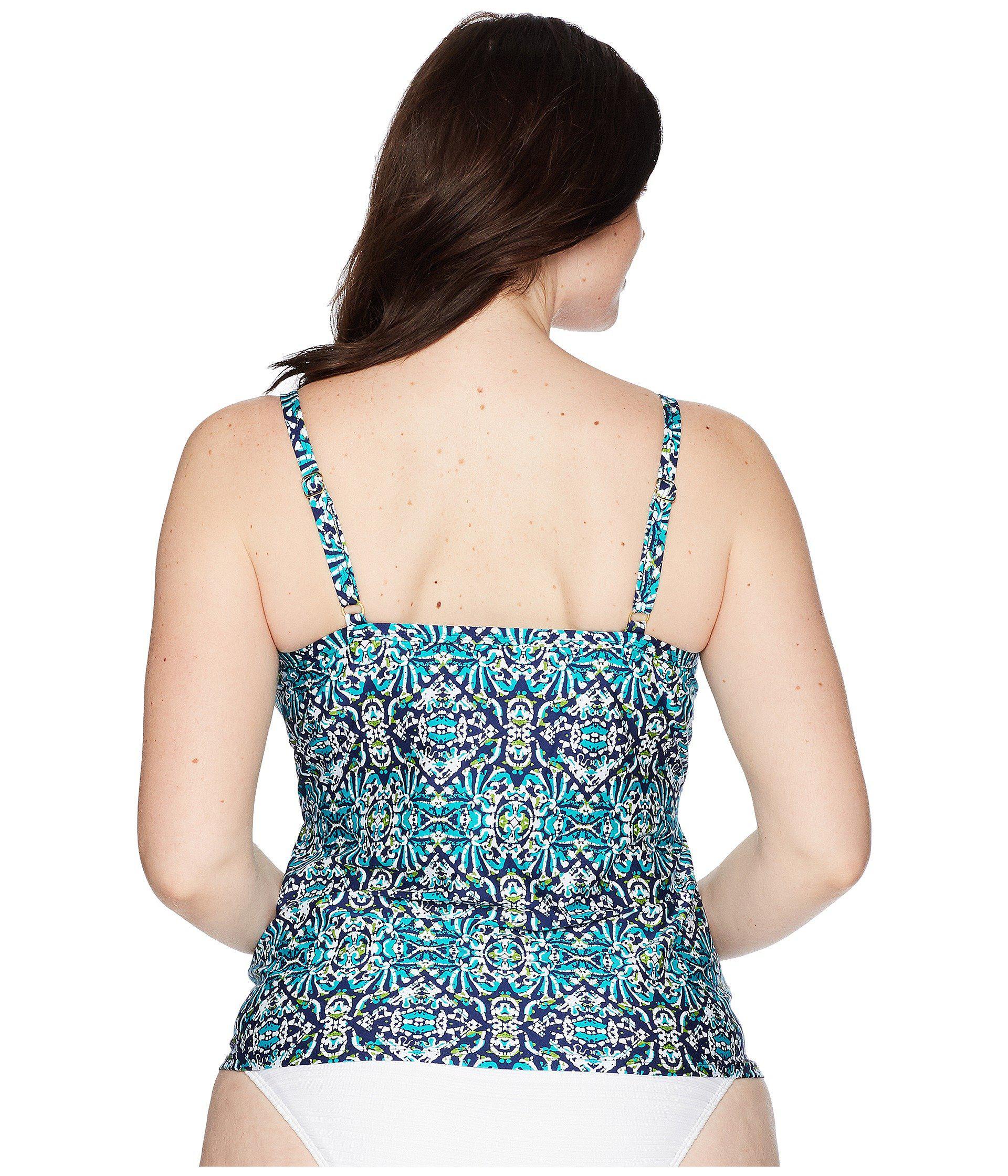 1ead423dda3fc La Blanca - Blue Plus Size Tuvalu Underwire Wrap Over The Shoulder Tankini  Top - Lyst. View fullscreen