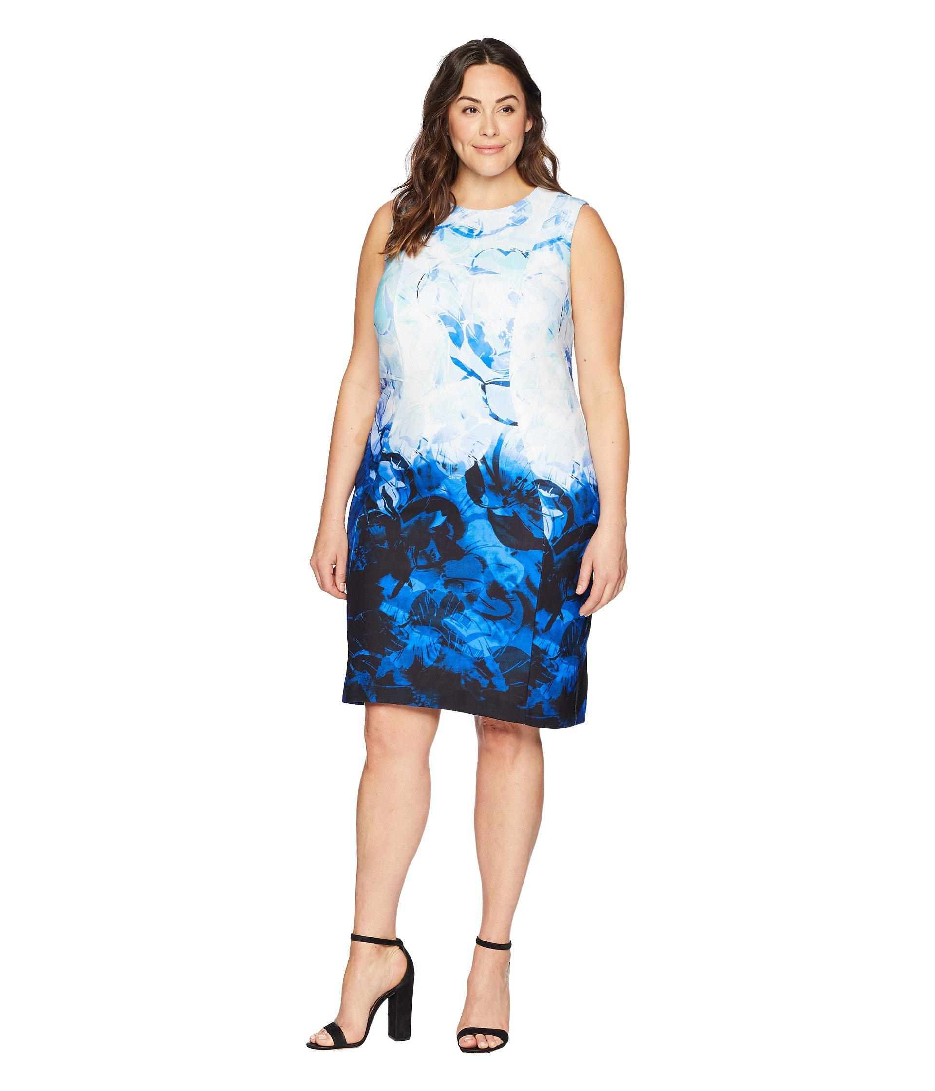 0803a31b507 Lyst - Calvin Klein Plus Size Printed Sheath Dress in Blue - Save 15%