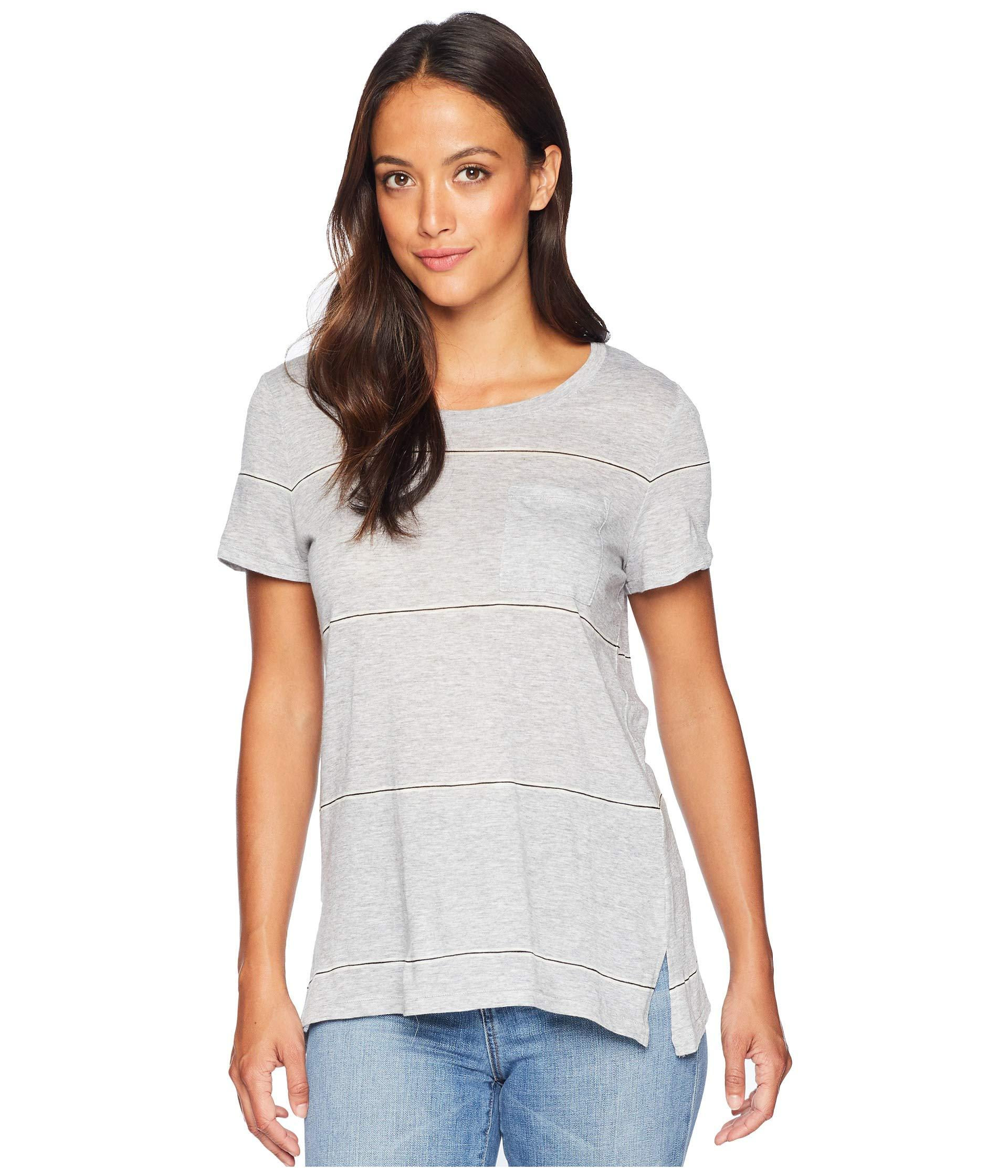 1b66cdde93f Two By Vince Camuto. Women s Gray Short Sleeve Romantic Thin Stripe ...