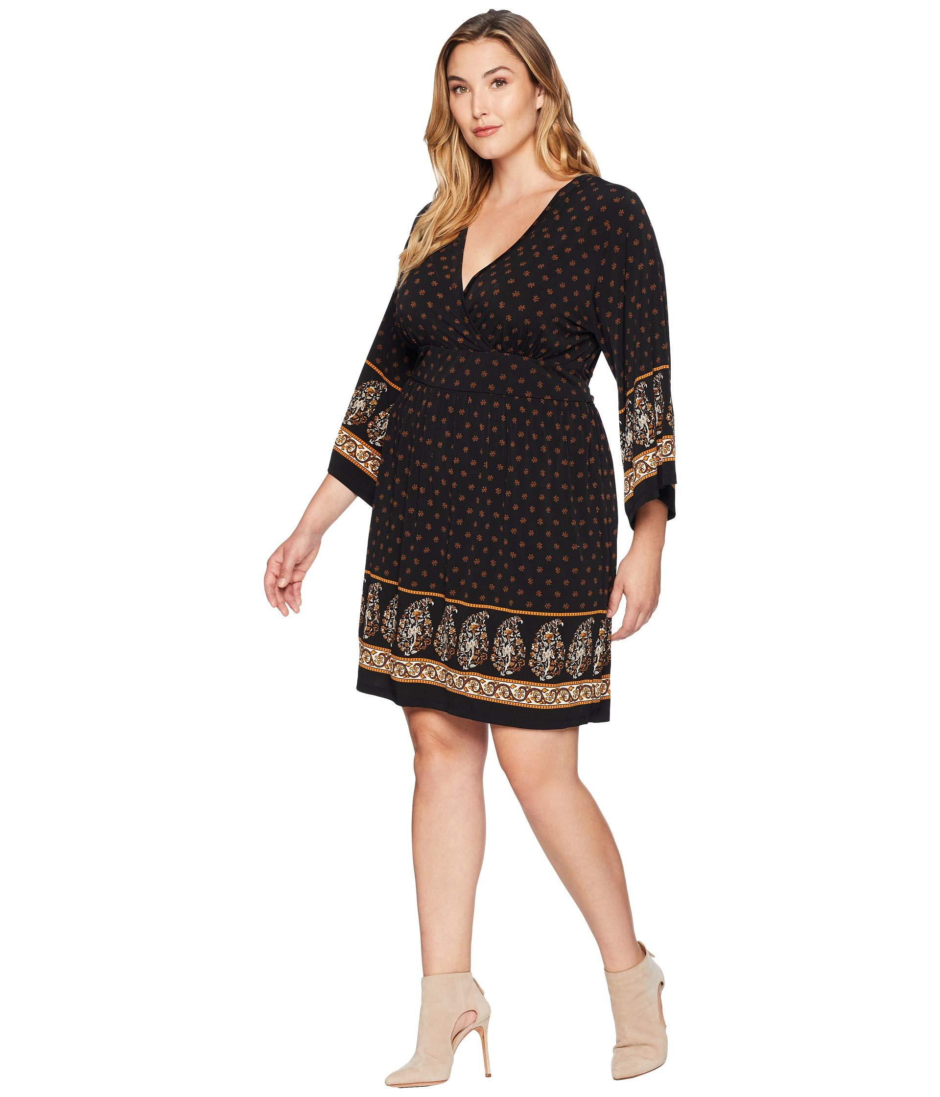 967c150c4df5b Lyst - MICHAEL Michael Kors Plus Size Paisley Garden Deep Vee Dress in  Black - Save 36%