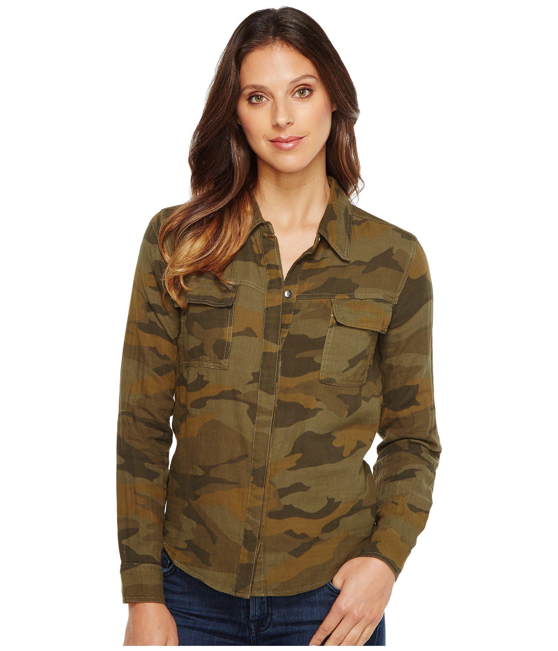 12fad10a2 Lyst - Splendid Camo Print Double Cloth Shirt in Green