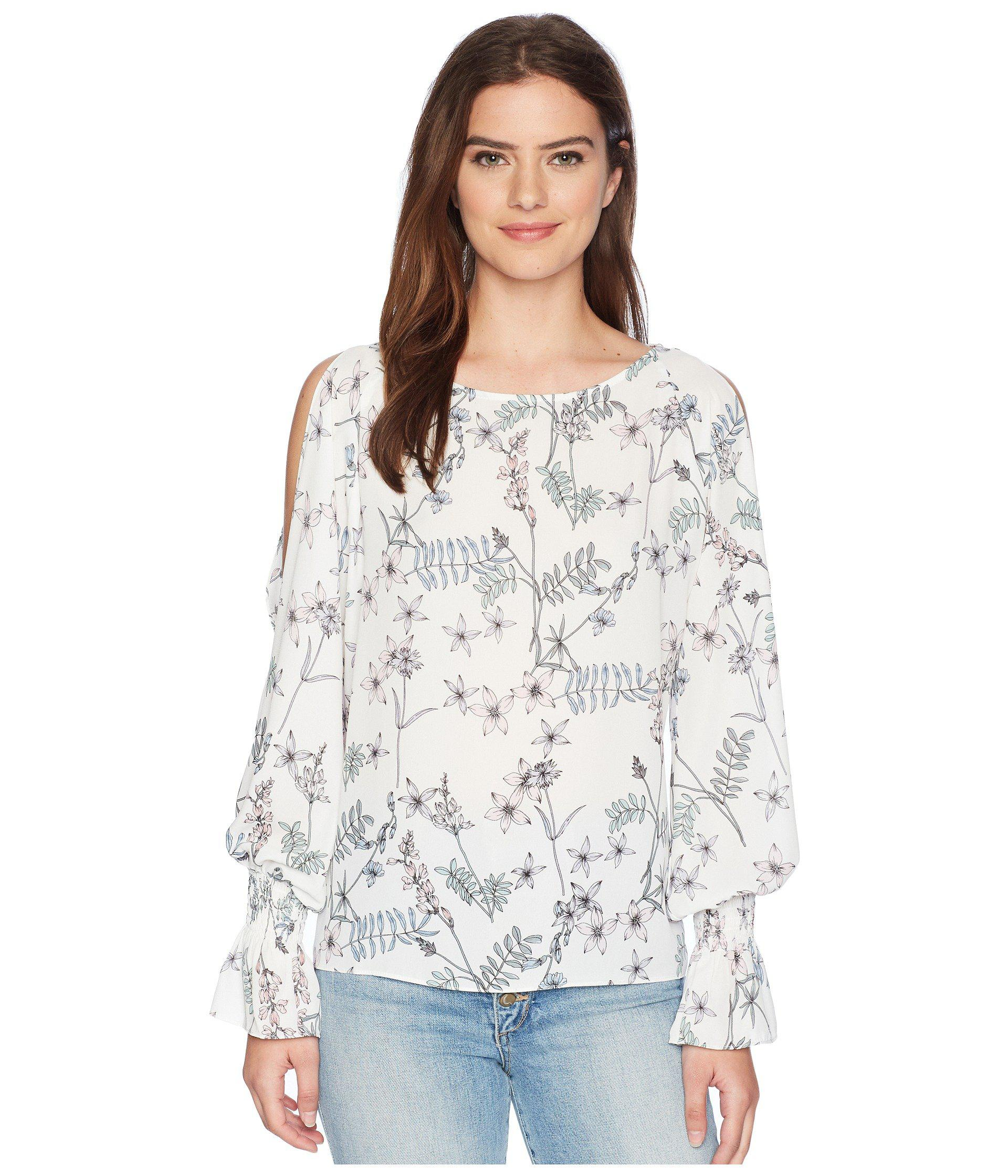 a309977b725ac Vince Camuto. Women s White Long Sleeve Flare Cuff Cold Shoulder Botanical  Floral Blouse