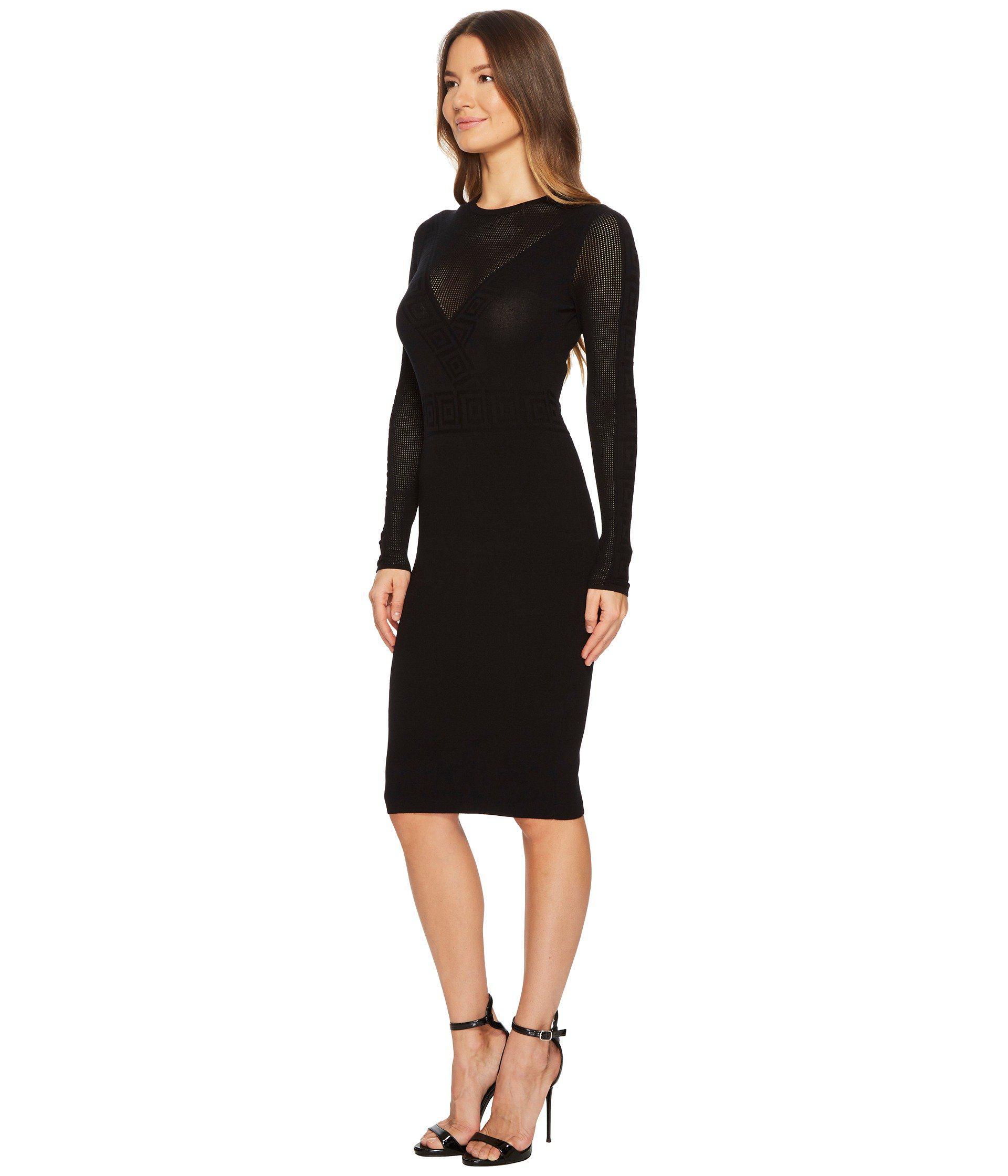 5d67e9b5b5dd Versace Abito Maglia Donna Long Sleeve Dress in Black - Lyst